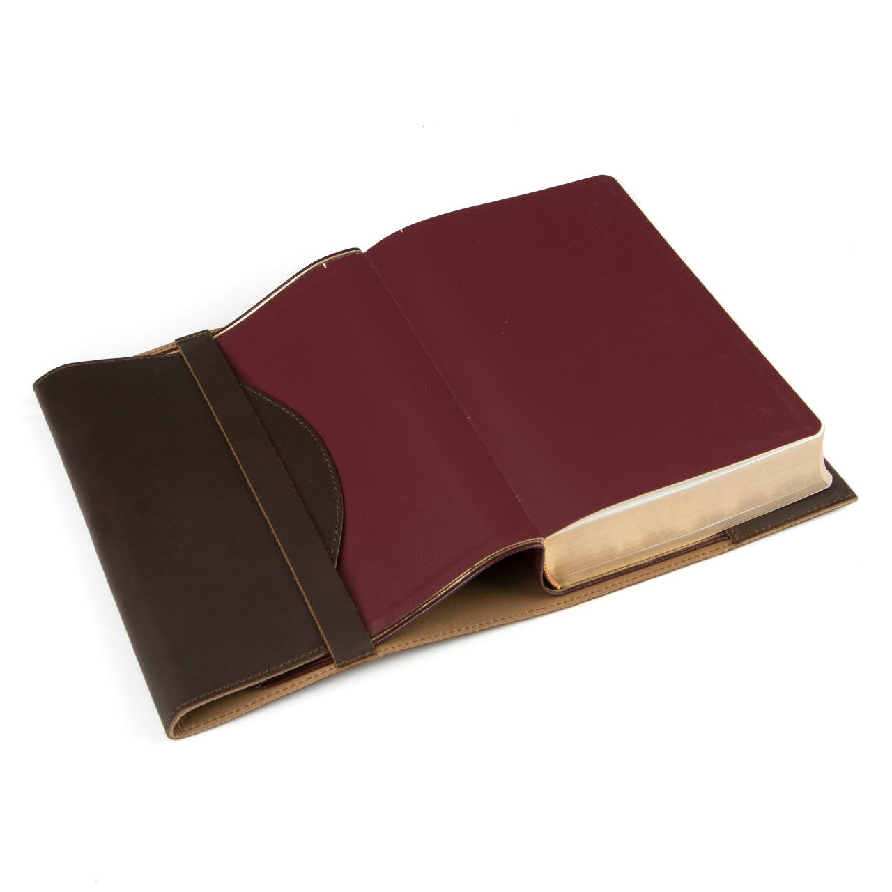 Bible in the leather book cover large in dark coffee brown leather