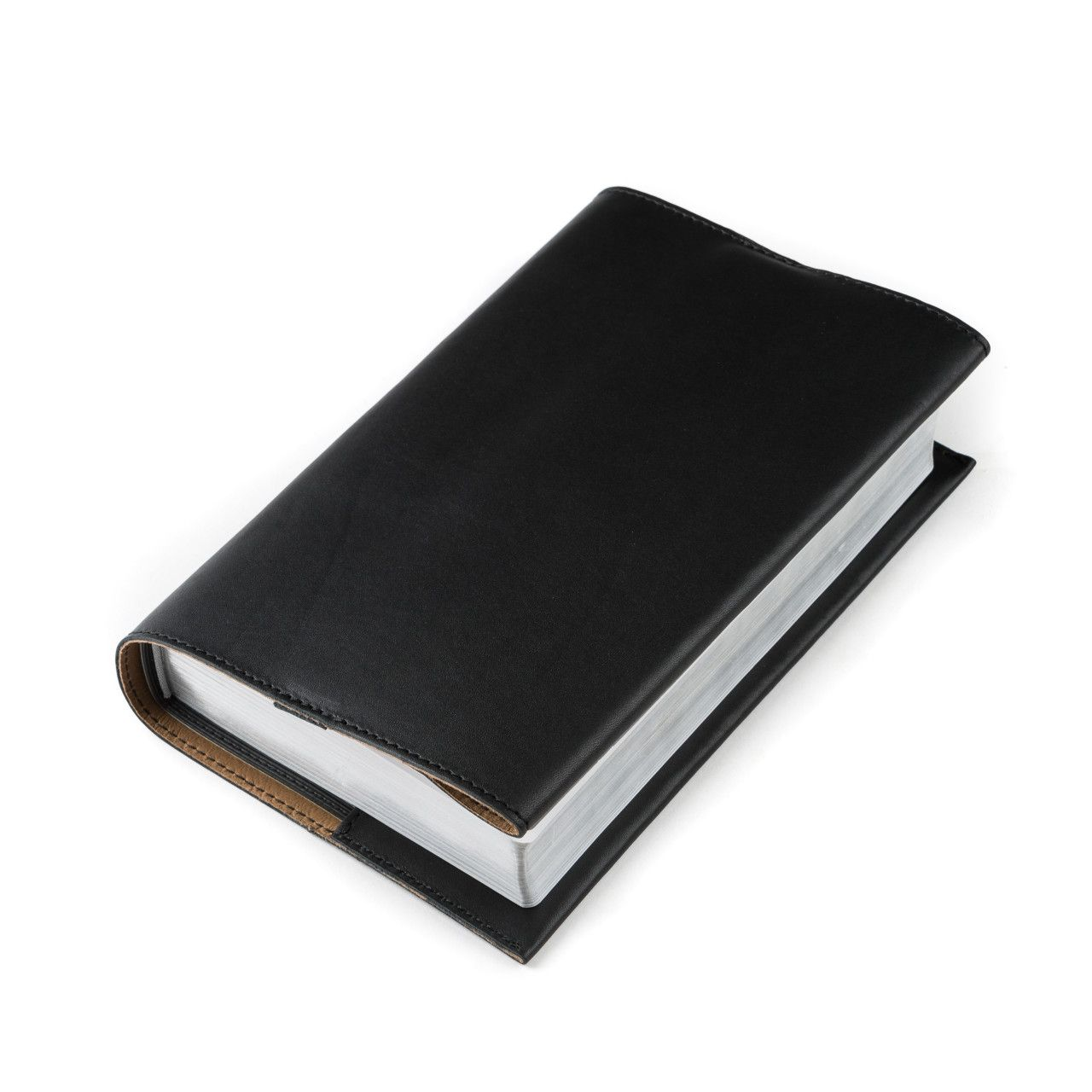 leather book cover medium in black leather