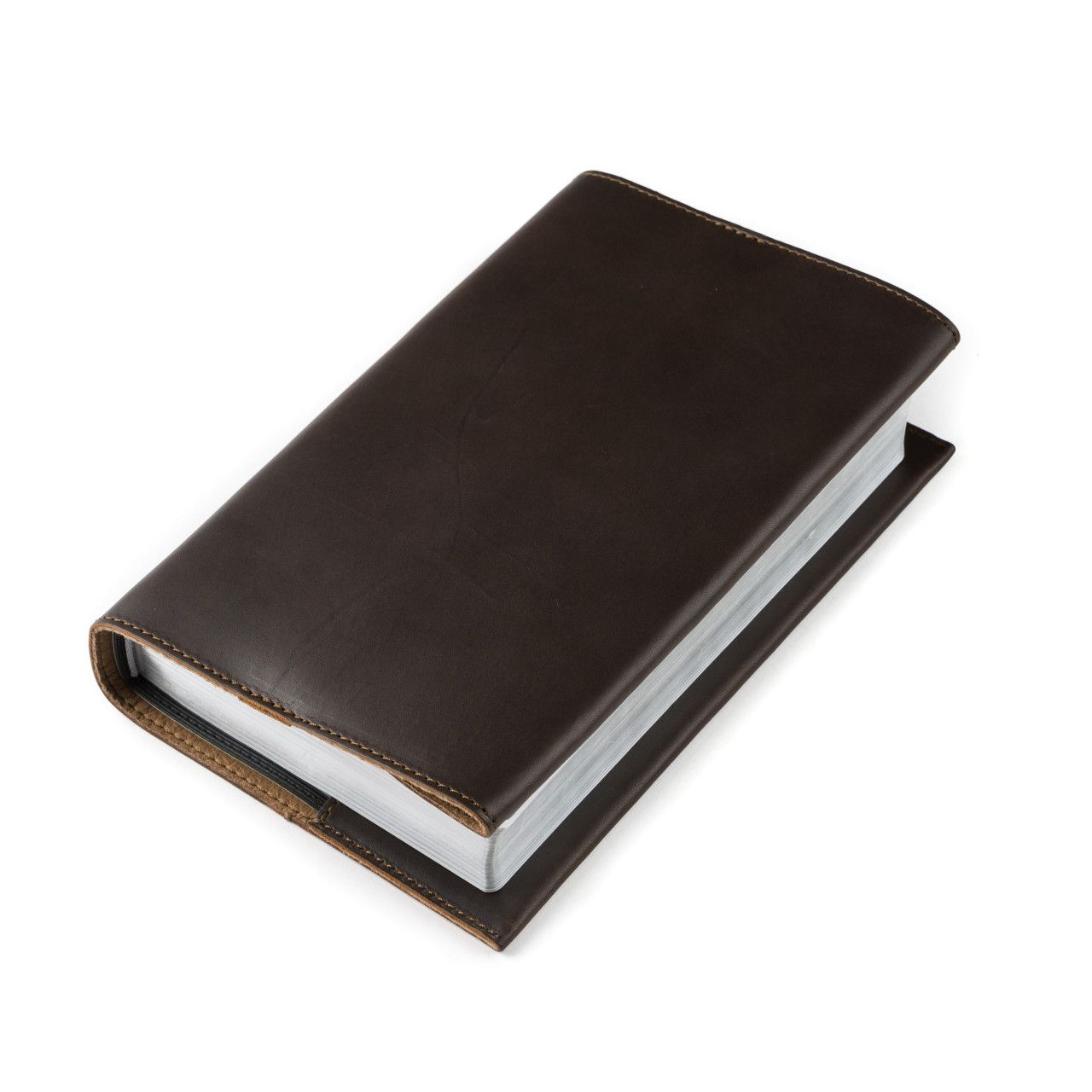 leather book cover medium in dark coffee brown leather