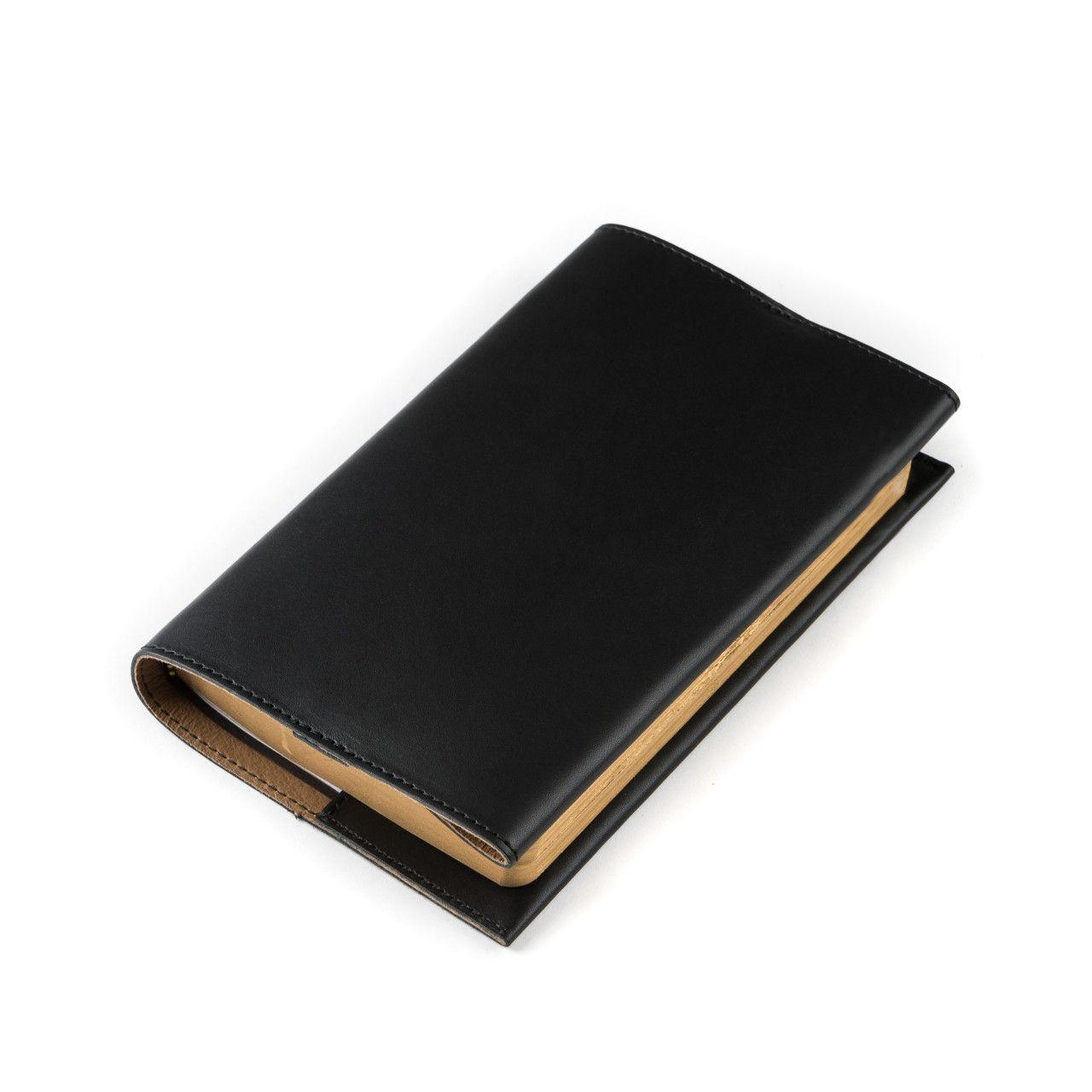 leather book cover small in black leather