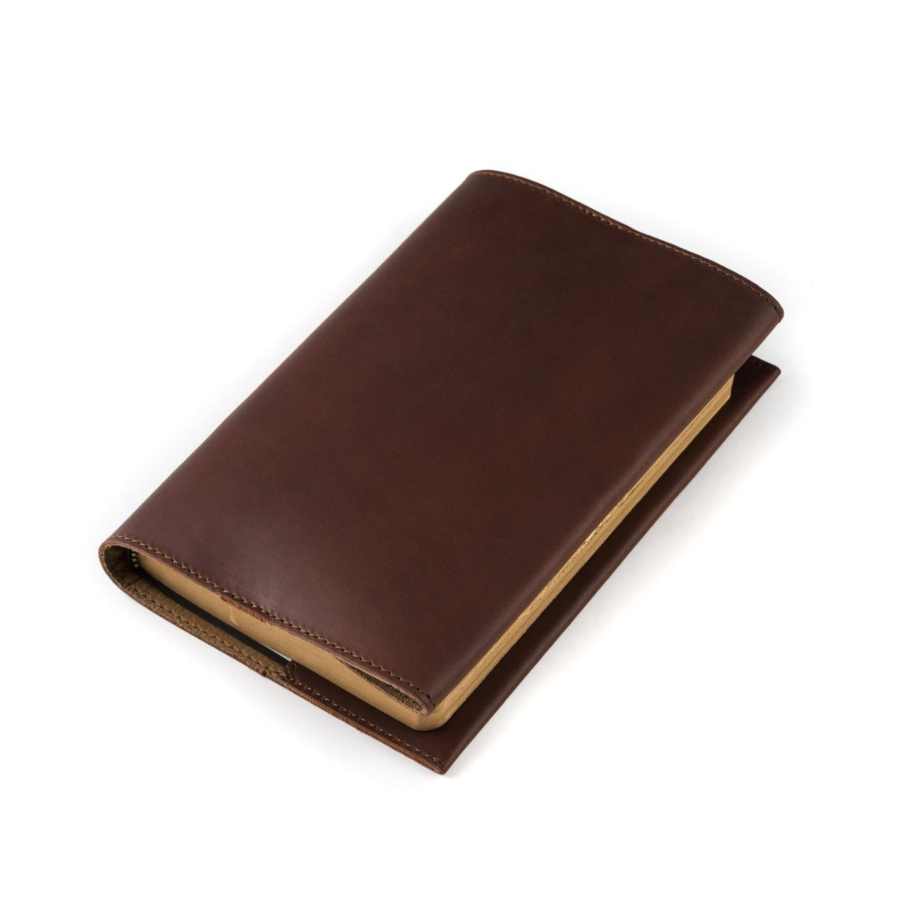 leather book cover small in chestnut leather