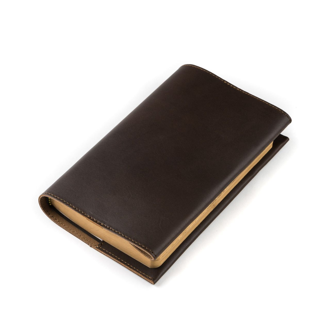 leather book cover small in dark coffee brown leather