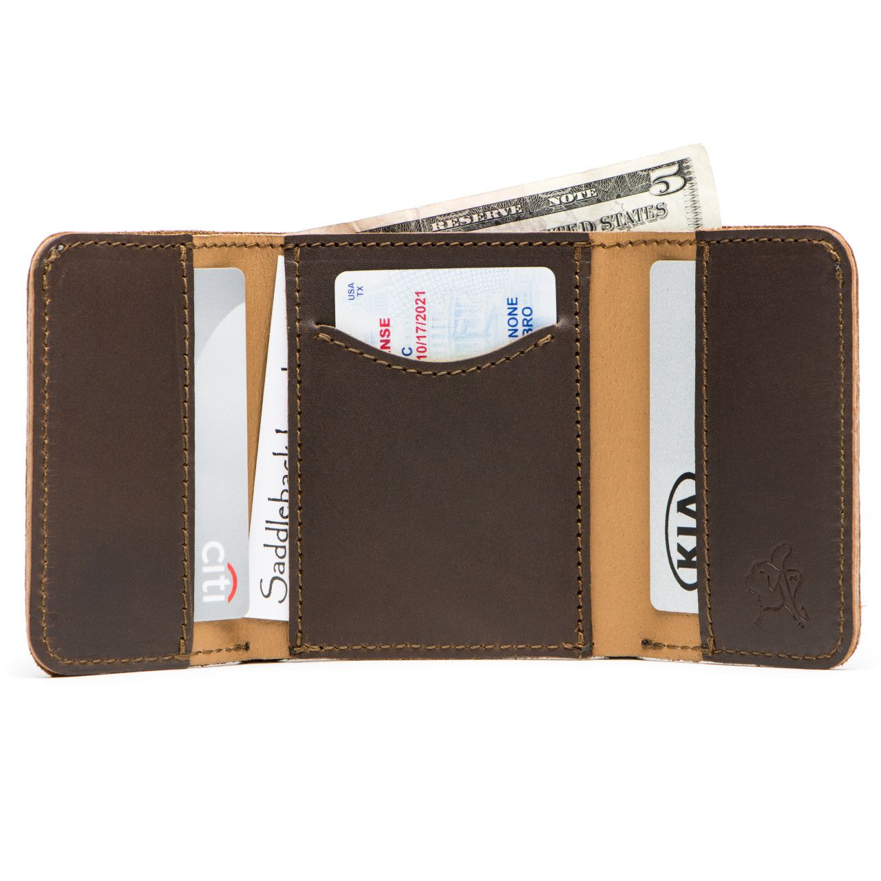 leather trifold wallet in dark coffee brown leather