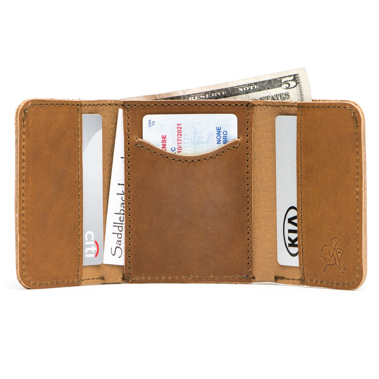 leather trifold wallet in tobacco leather