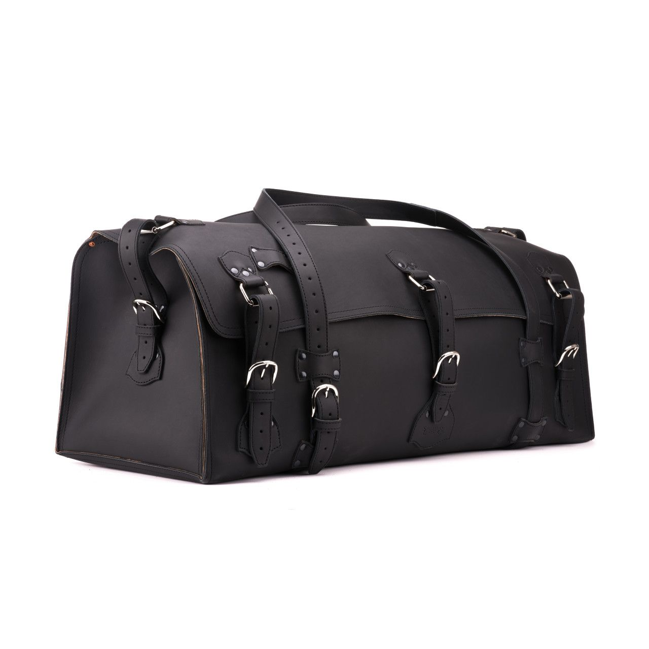 large leather duffel bag in black leather