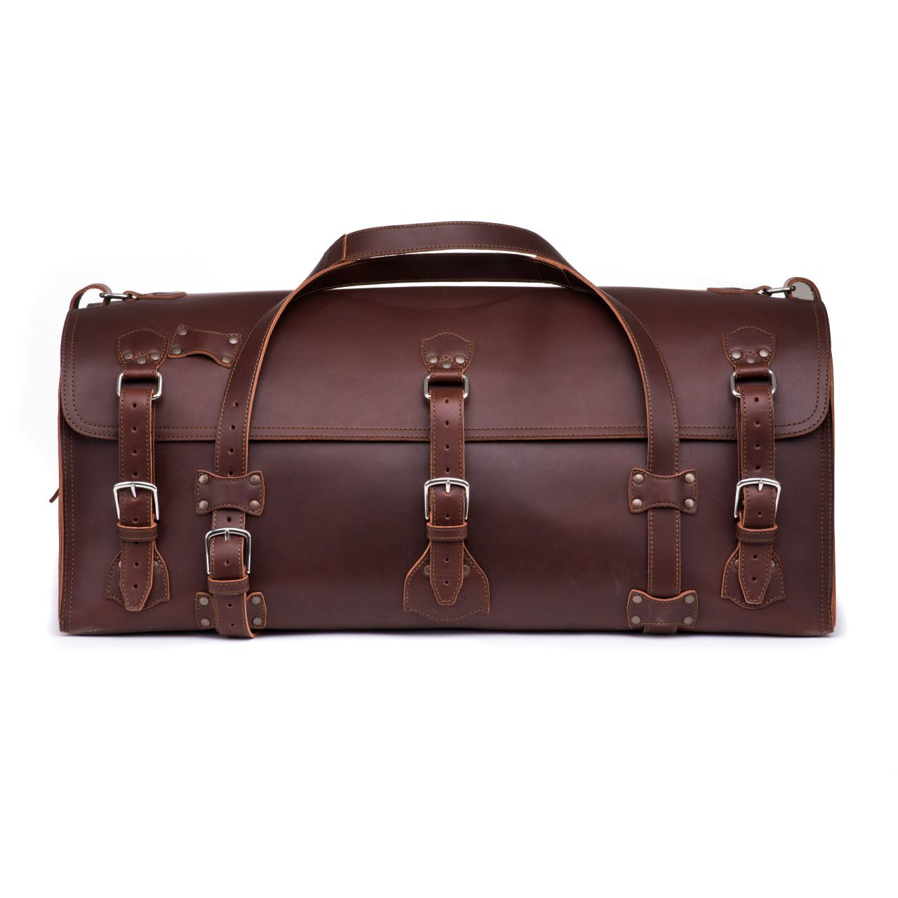 large leather duffel bag in chestnut leather