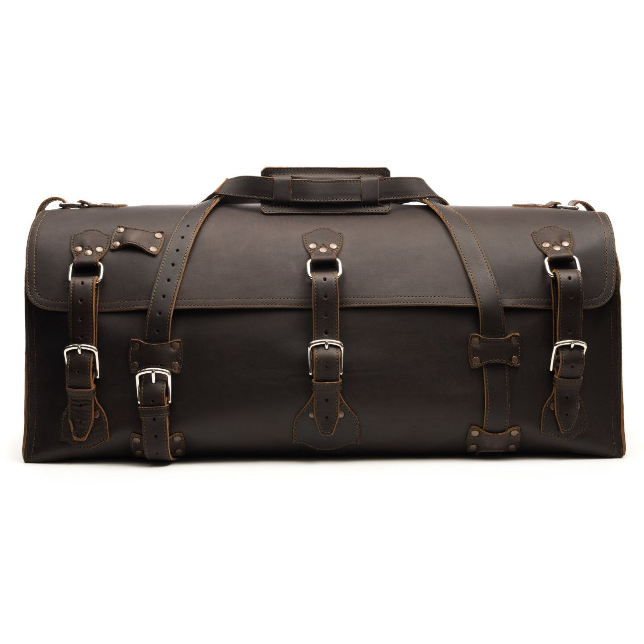 large leather duffel bag in dark coffee brown leather
