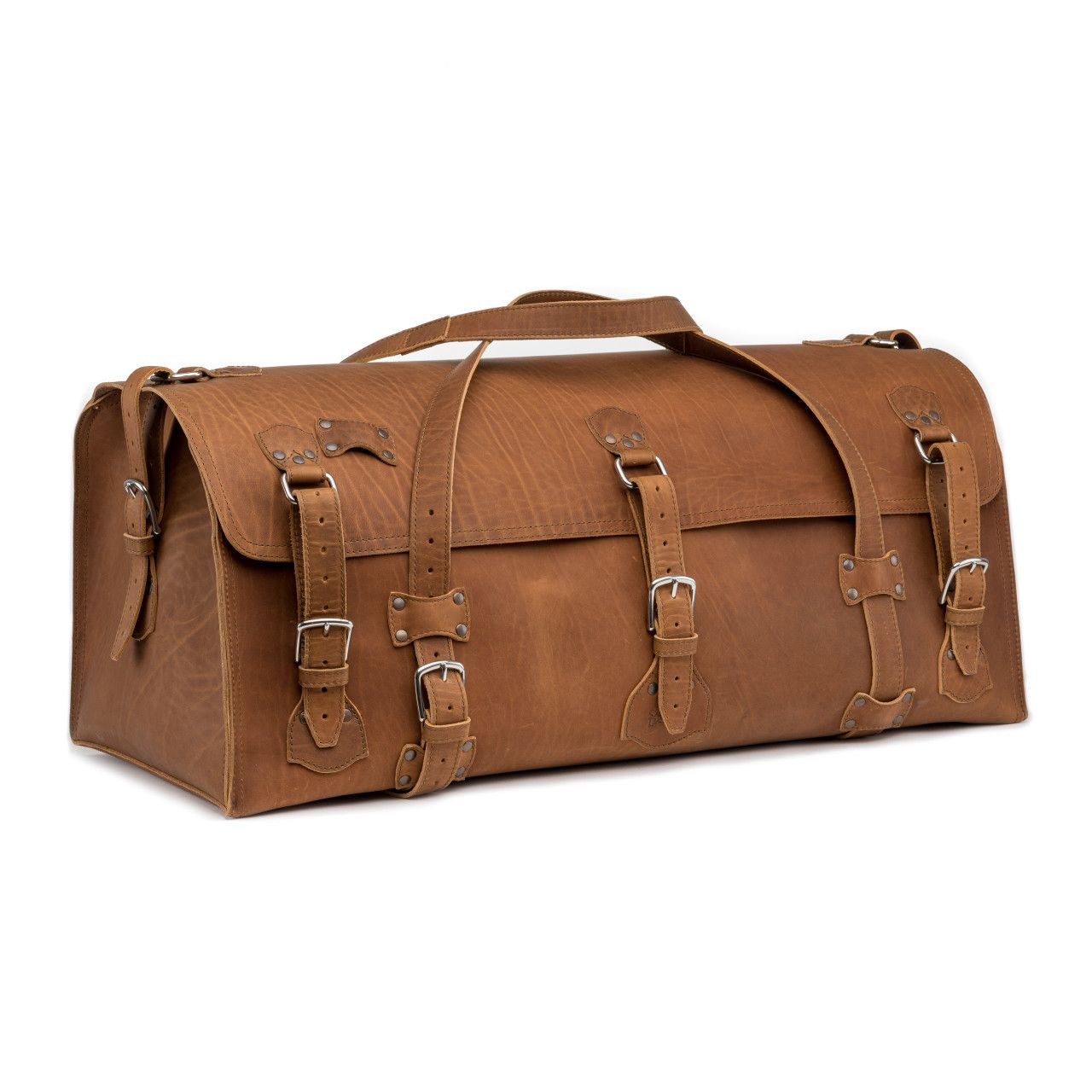 large leather duffel bag in tobacco leather