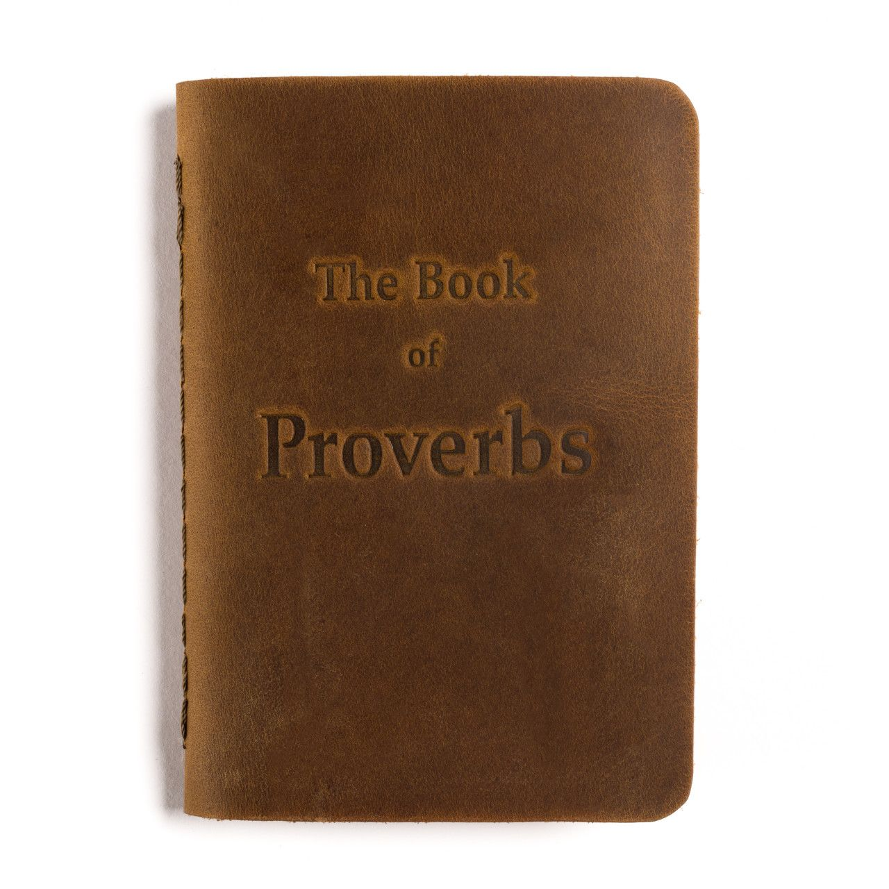leather book of proverbs in tobacco leather