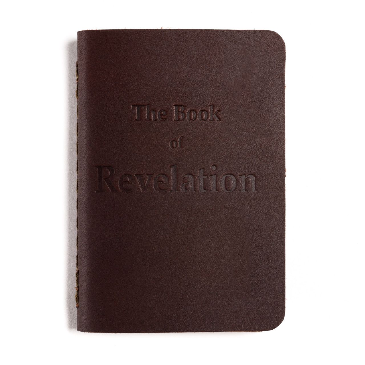 leather book of revelation in chestnut leather