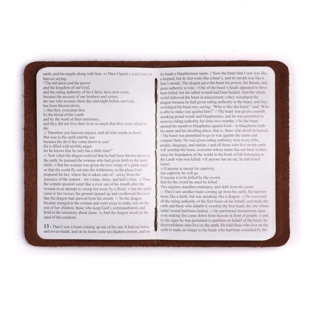 leather book of revelation in chestnut leather with the gospel