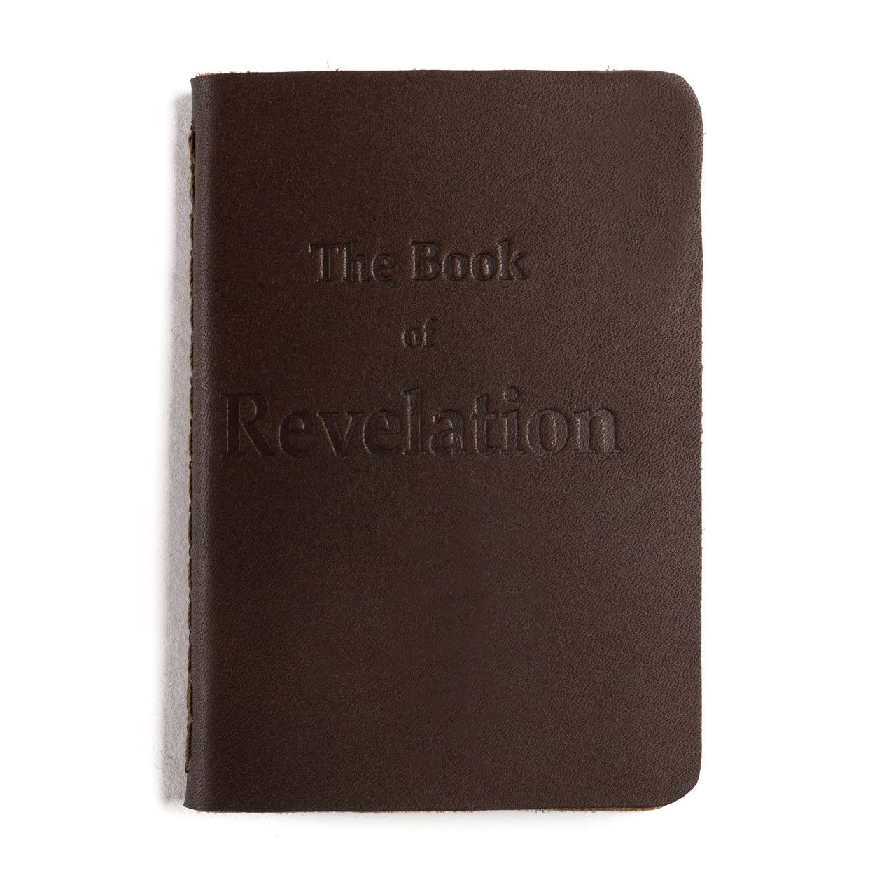 leather book of revelation in dark coffee brown leather