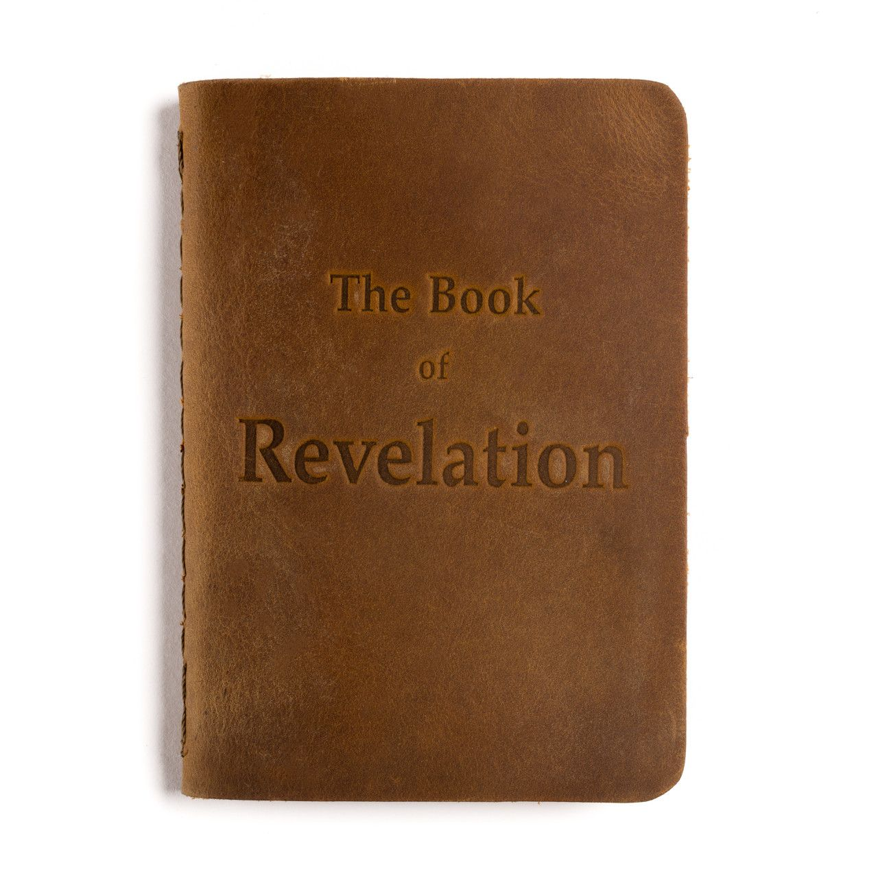 leather book of revelation in tobacco leather