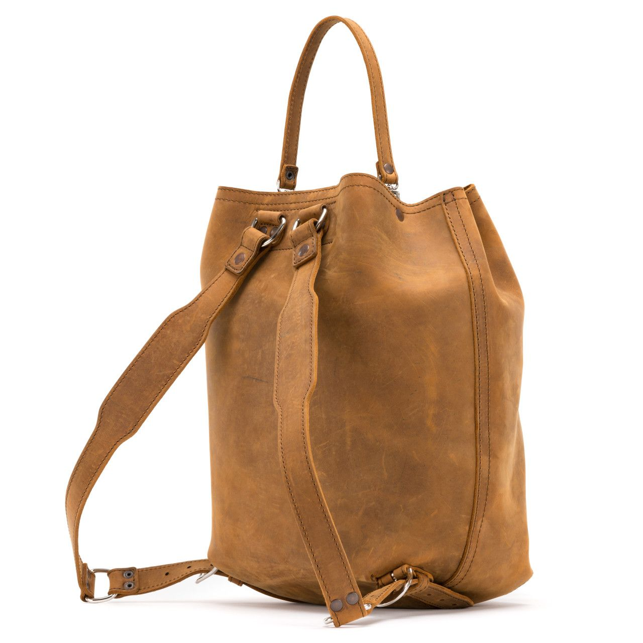 bucket drawstring leather backpack in tobacco leather