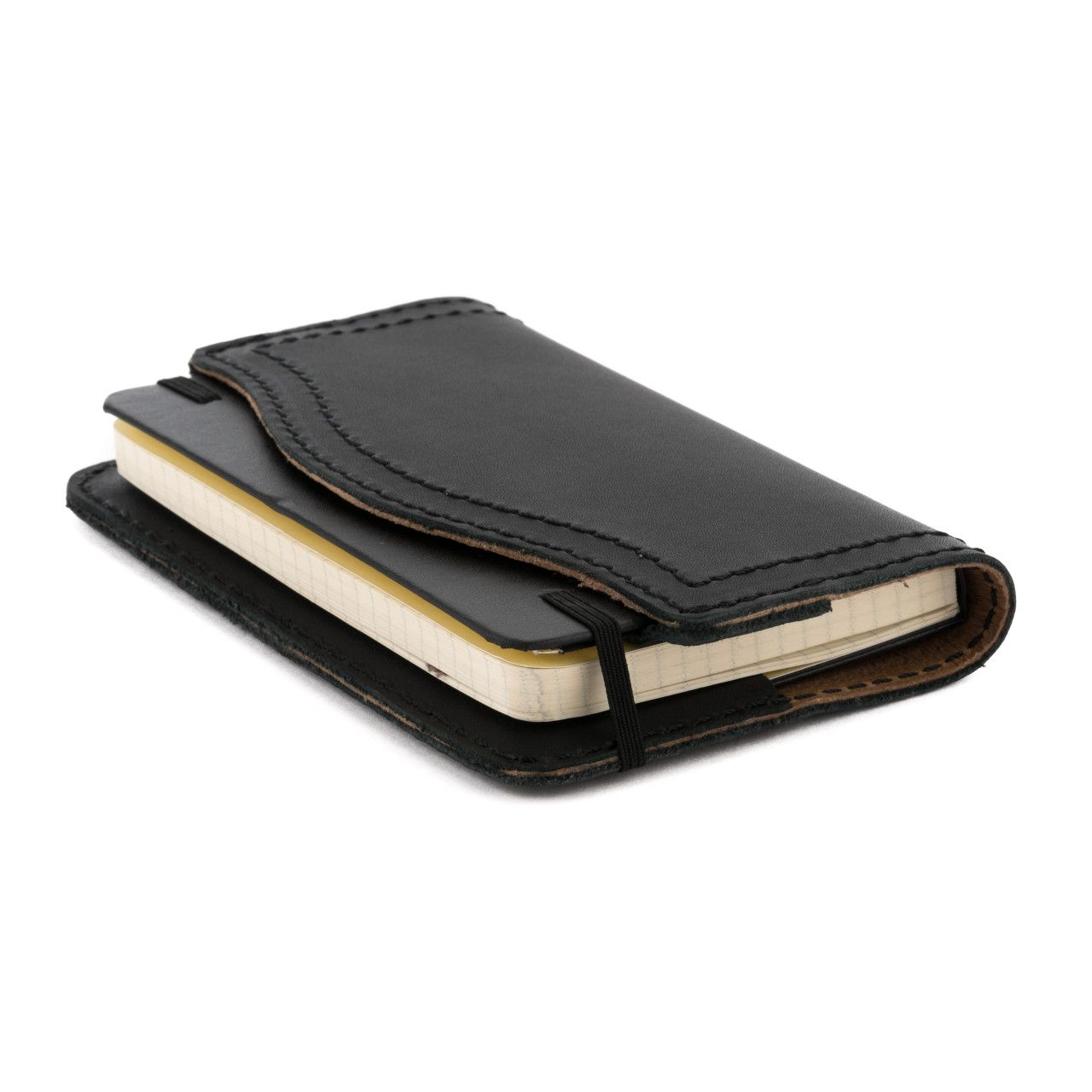 leather notebook cover medium in black leather