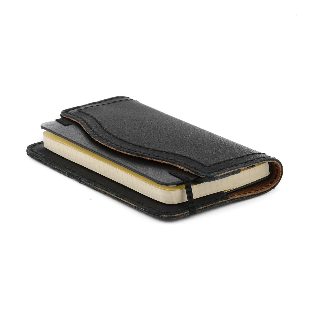 leather notebook cover small in black leather