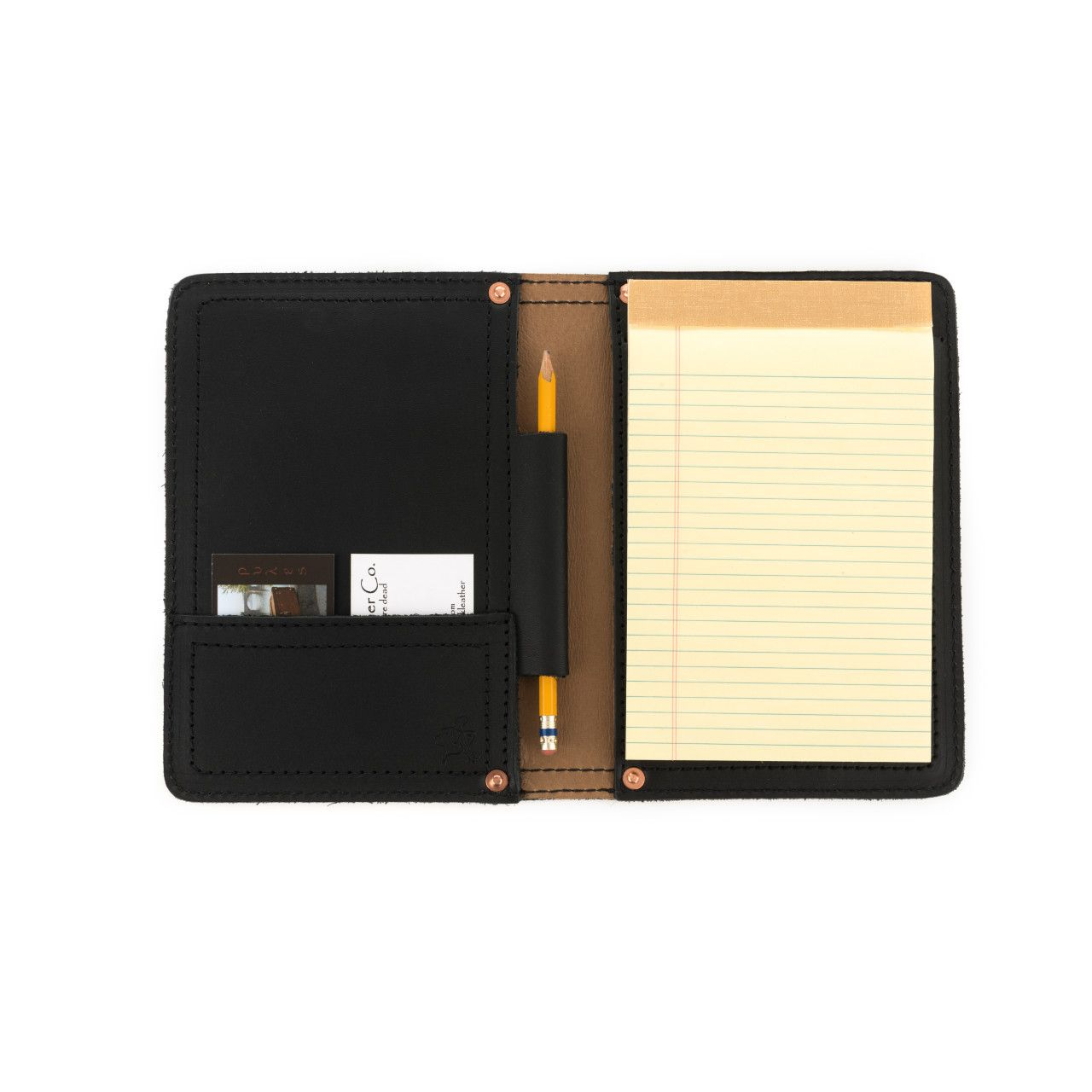 Notepad, pencil, business cards locaed in leather notepad cover small in black leather