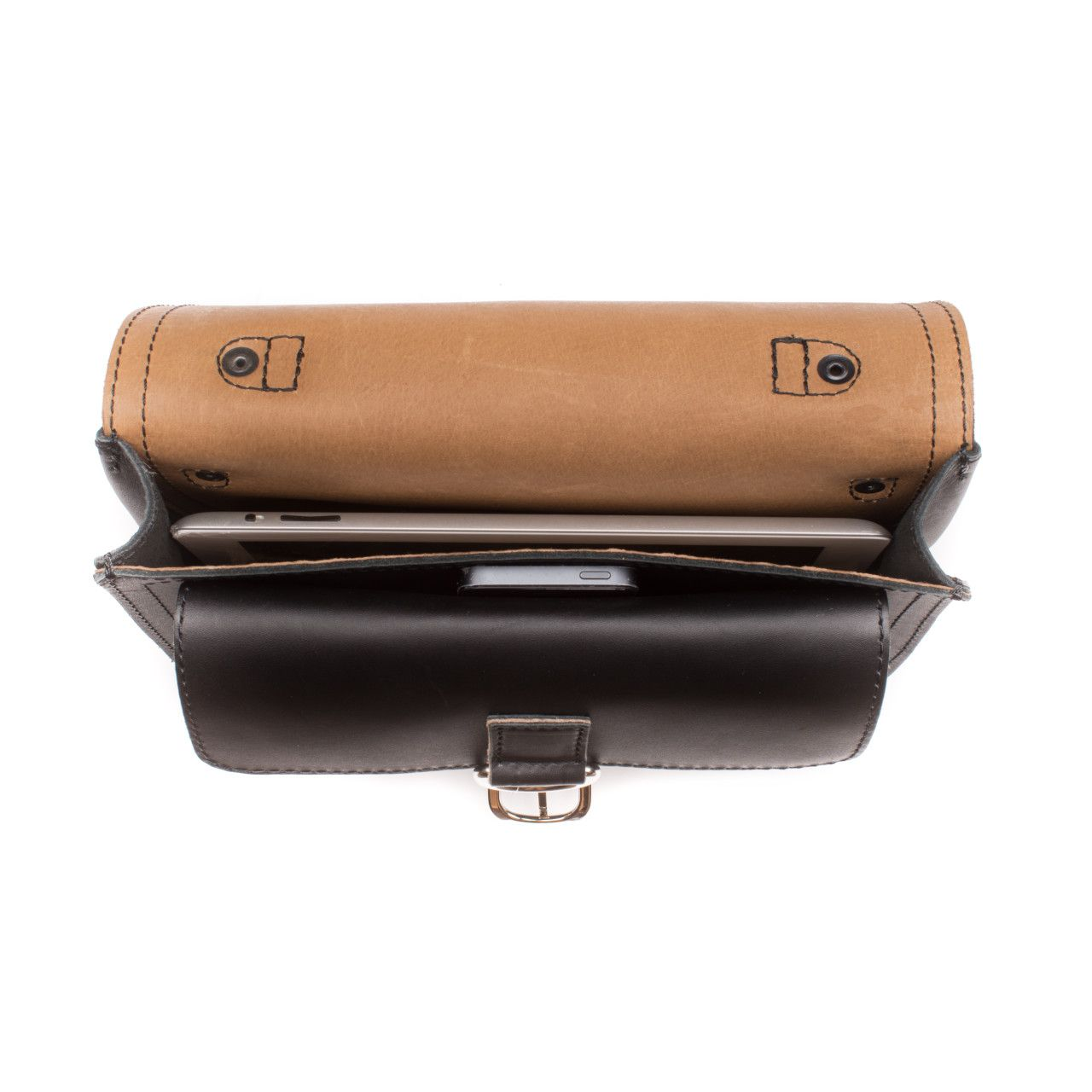 Macbook and iphone in the inside of the leather tablet messenger bag in black leather