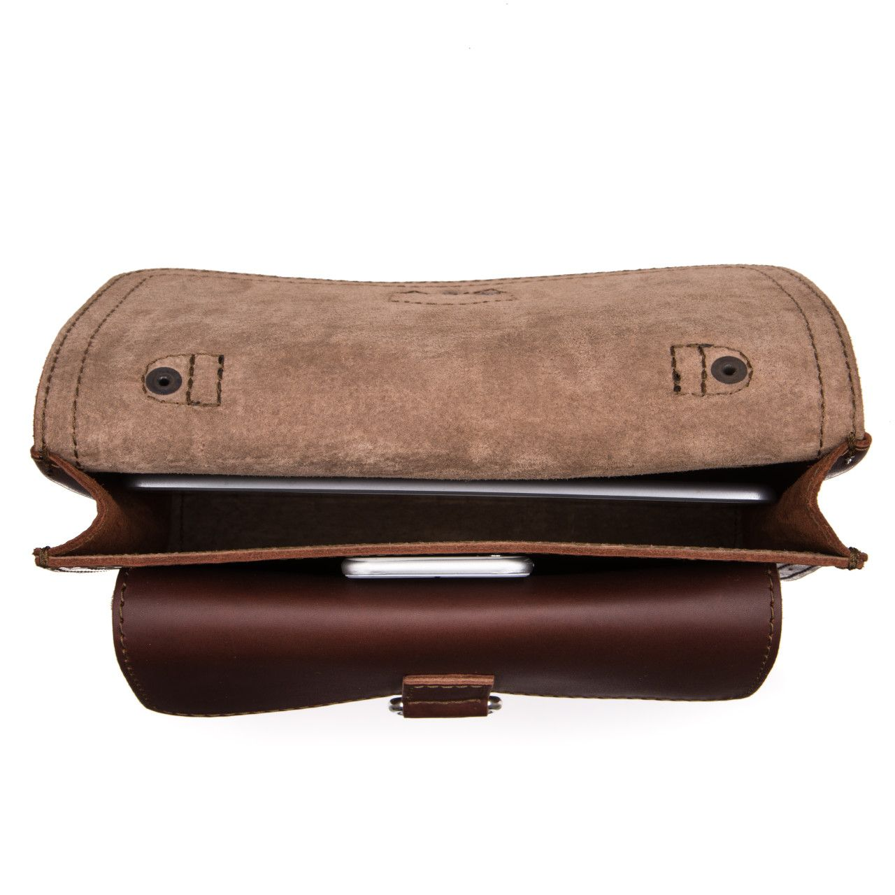 Macbook and iphone in the inside of the leather tablet messenger bag in chestnut leather
