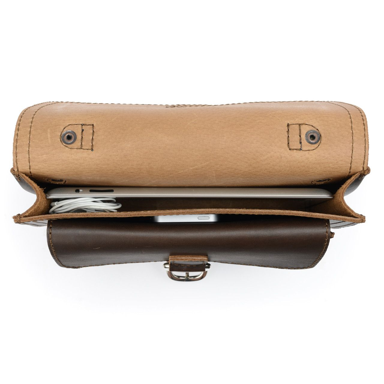 Macbook and iphone in the inside of the leather tablet messenger bag in dark coffee brown leather