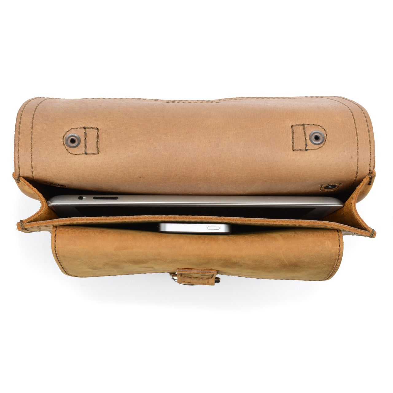Macbook and iphone in the inside of the leather tablet messenger bag in tobacco leather