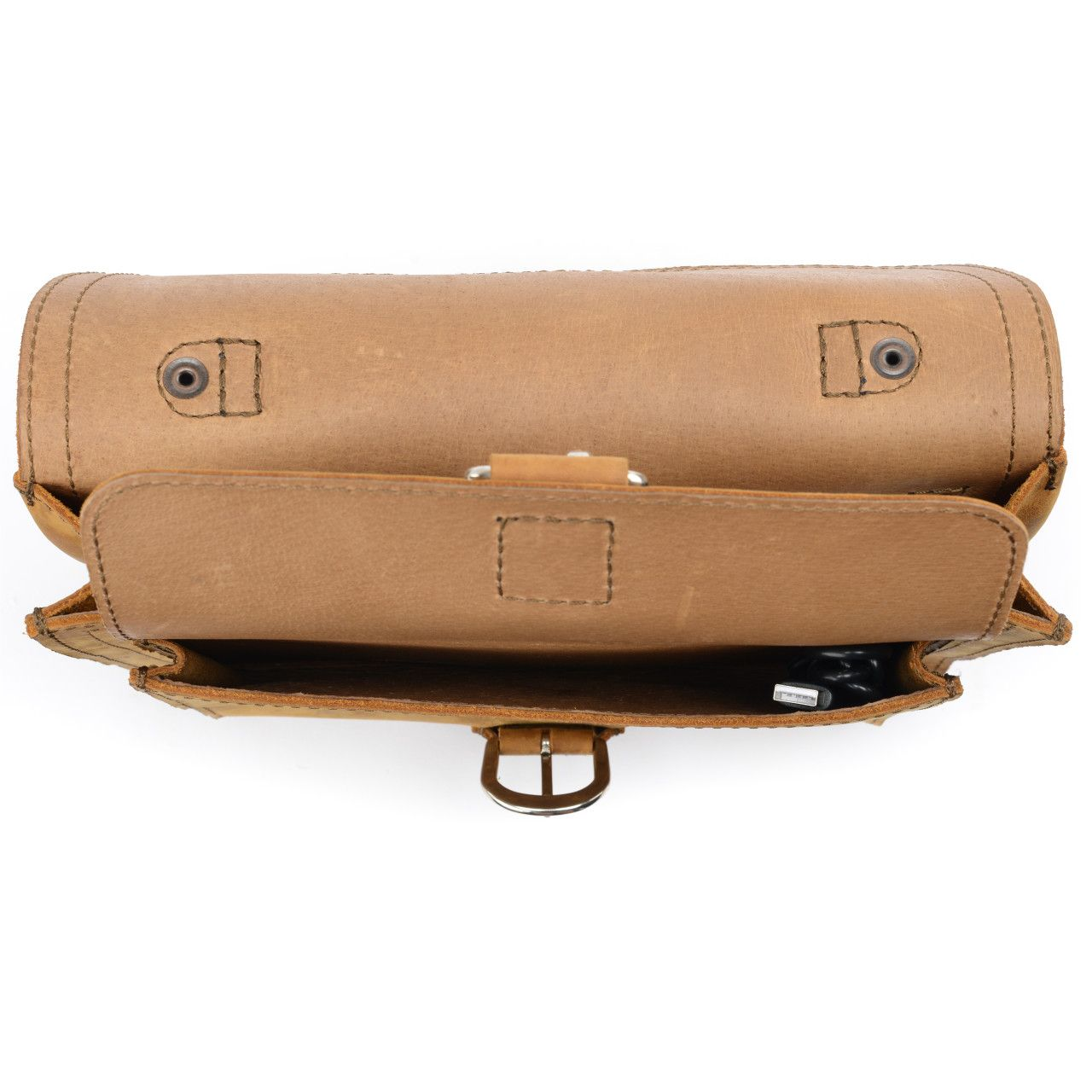 leather tablet messenger bag in tobacco leather