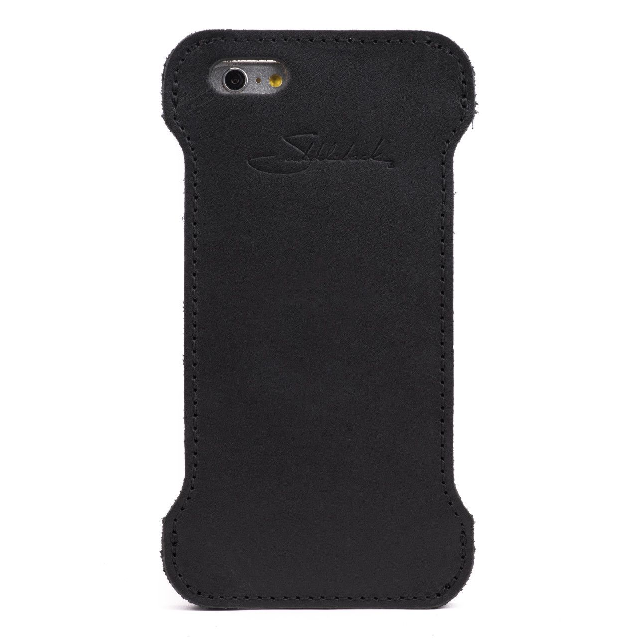 iphone 6 leather case large in black leather