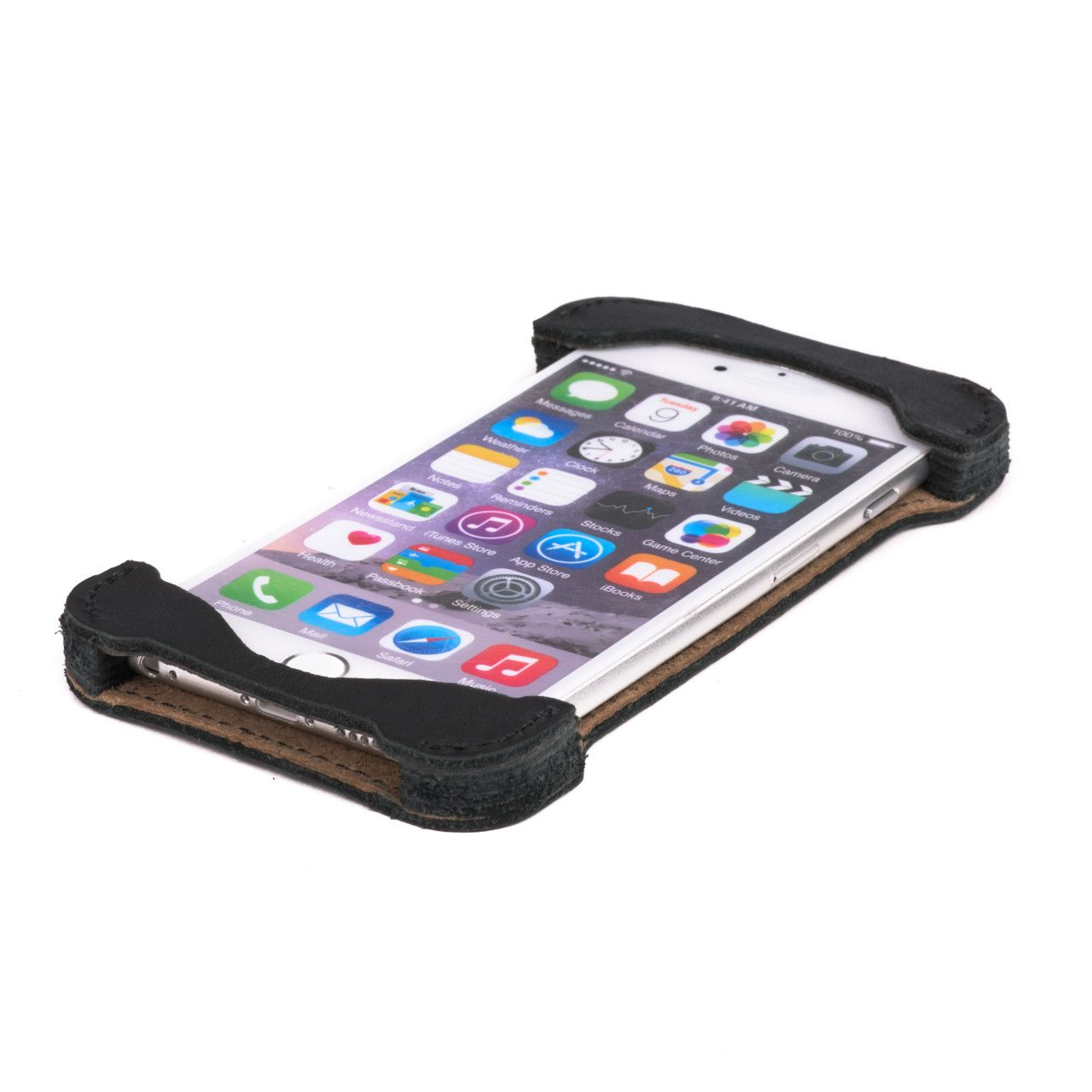 Iphone in iphone 6 leather case large in black leather