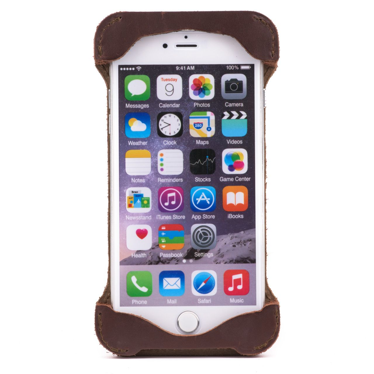 Iphone in iphone 6 leather case large in chestnut leather