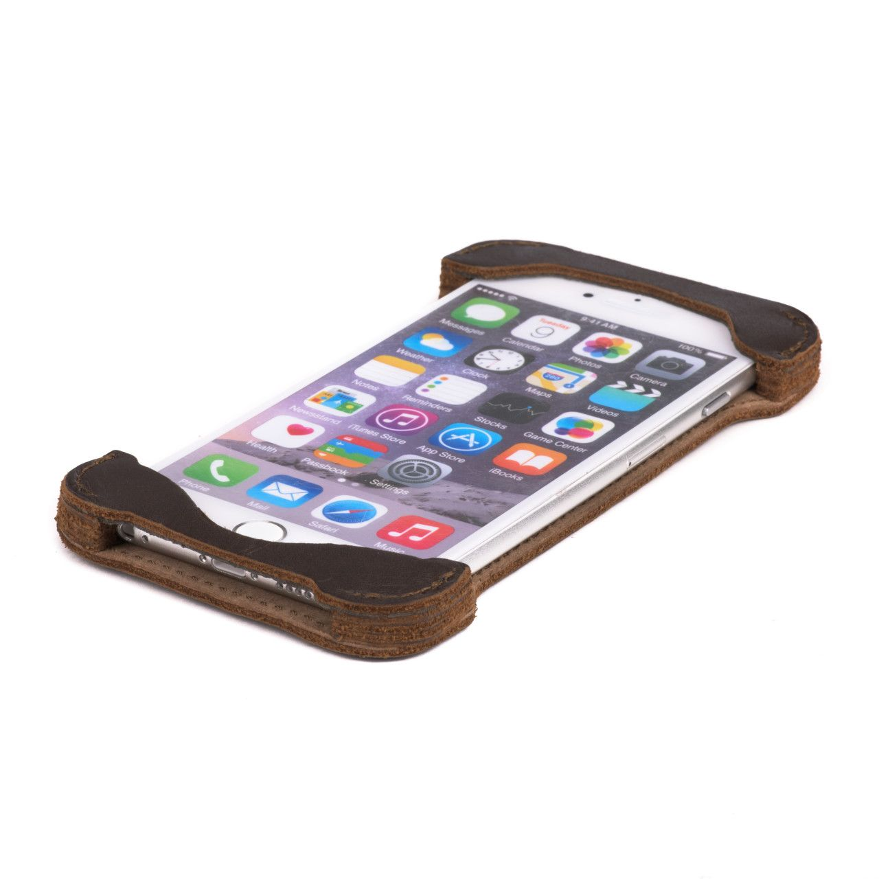 Iphone in iphone 6 leather case large in dark coffee brown leather