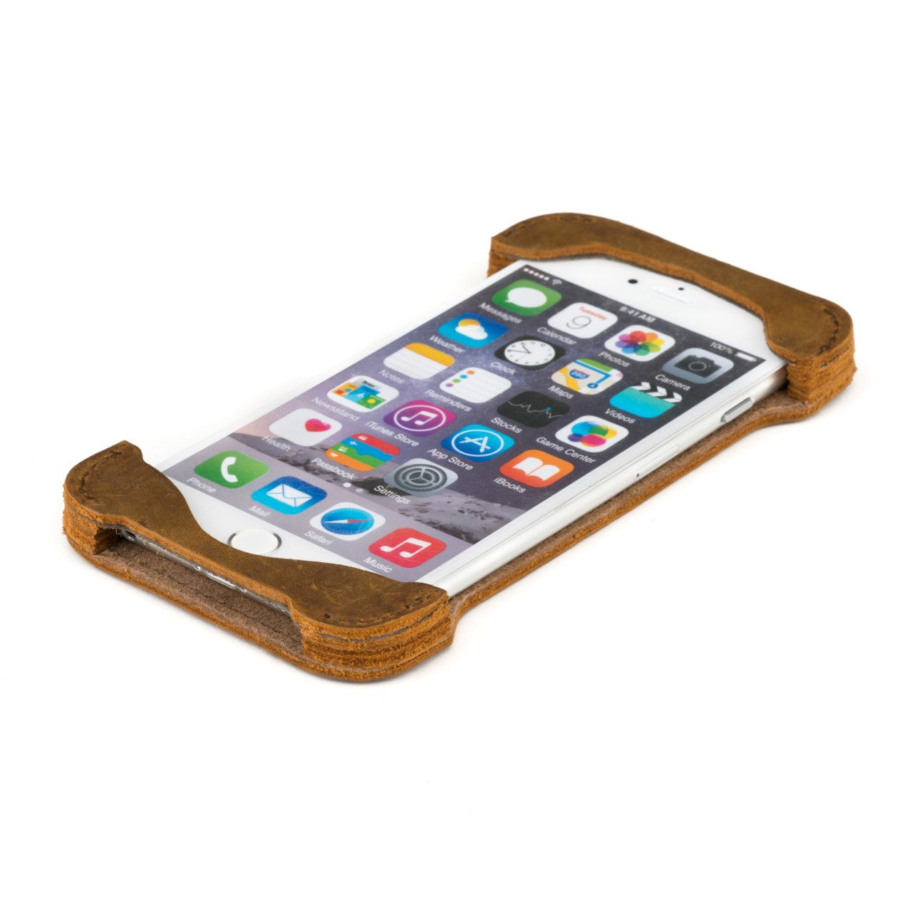 Iphone in iphone 6 leather case large in tobacco leather