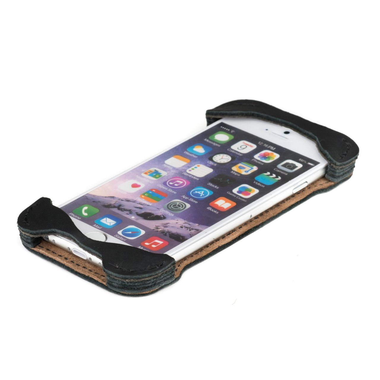 Iphone in iphone 6 leather case small in black leather