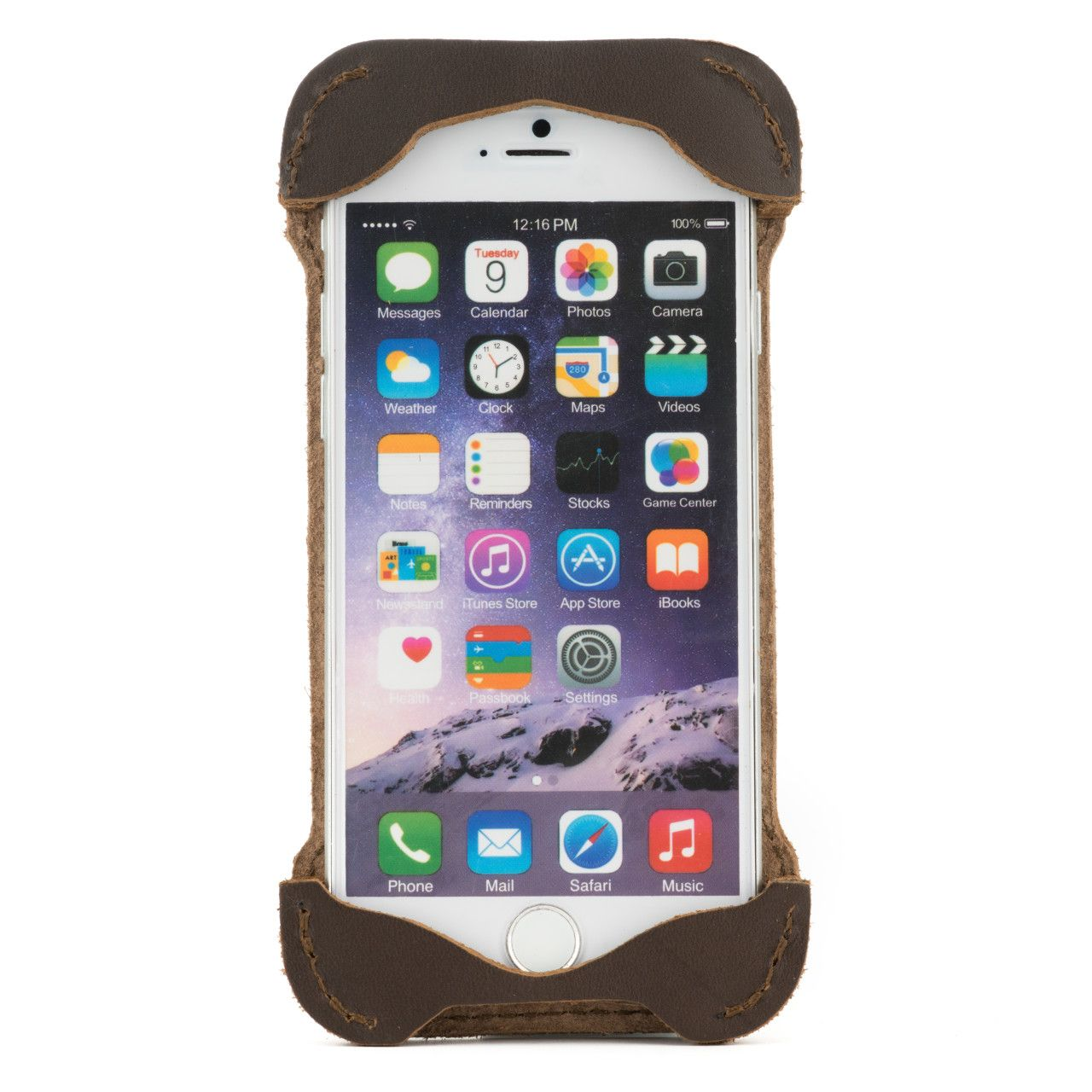 Iphone in iphone 6 leather case small in dark coffee brown leather