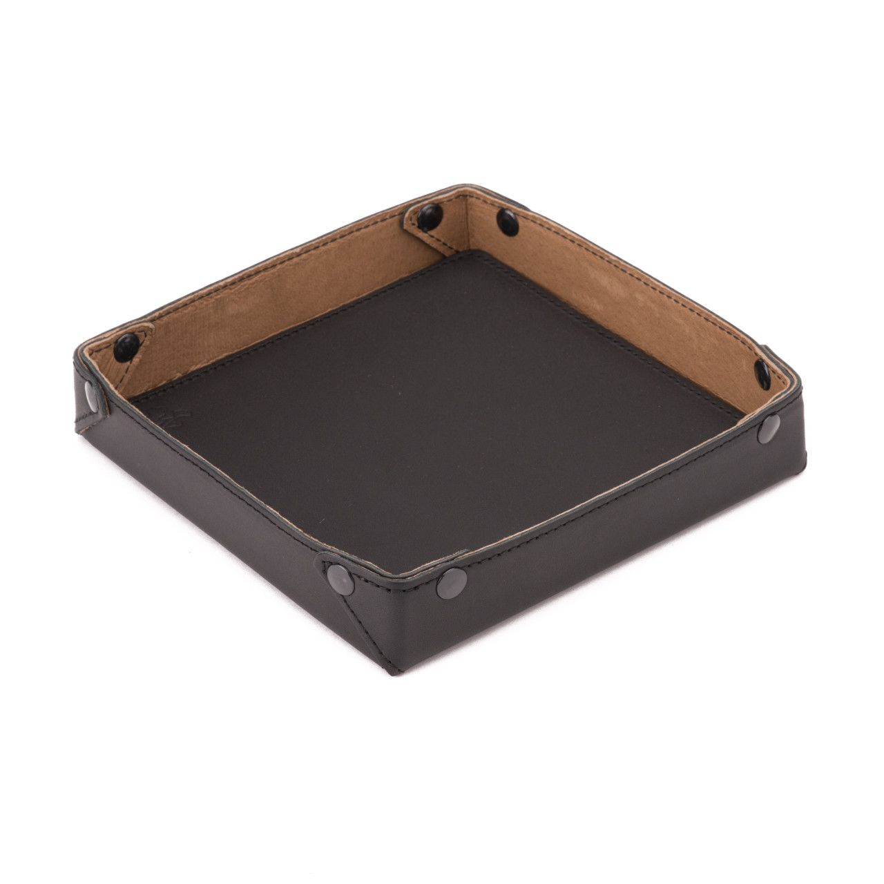 leather valet tray in black leather
