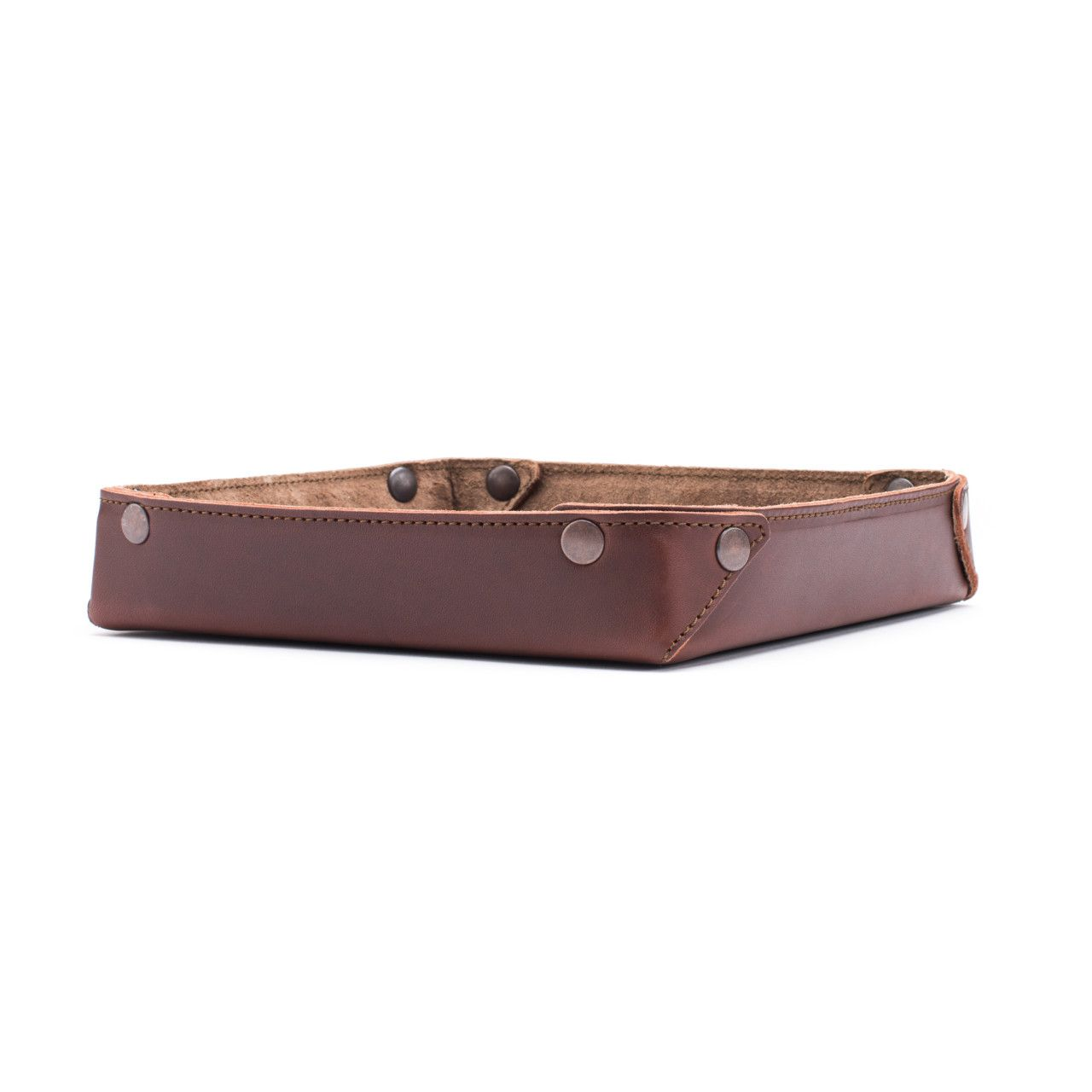 leather valet tray in chestnut leather