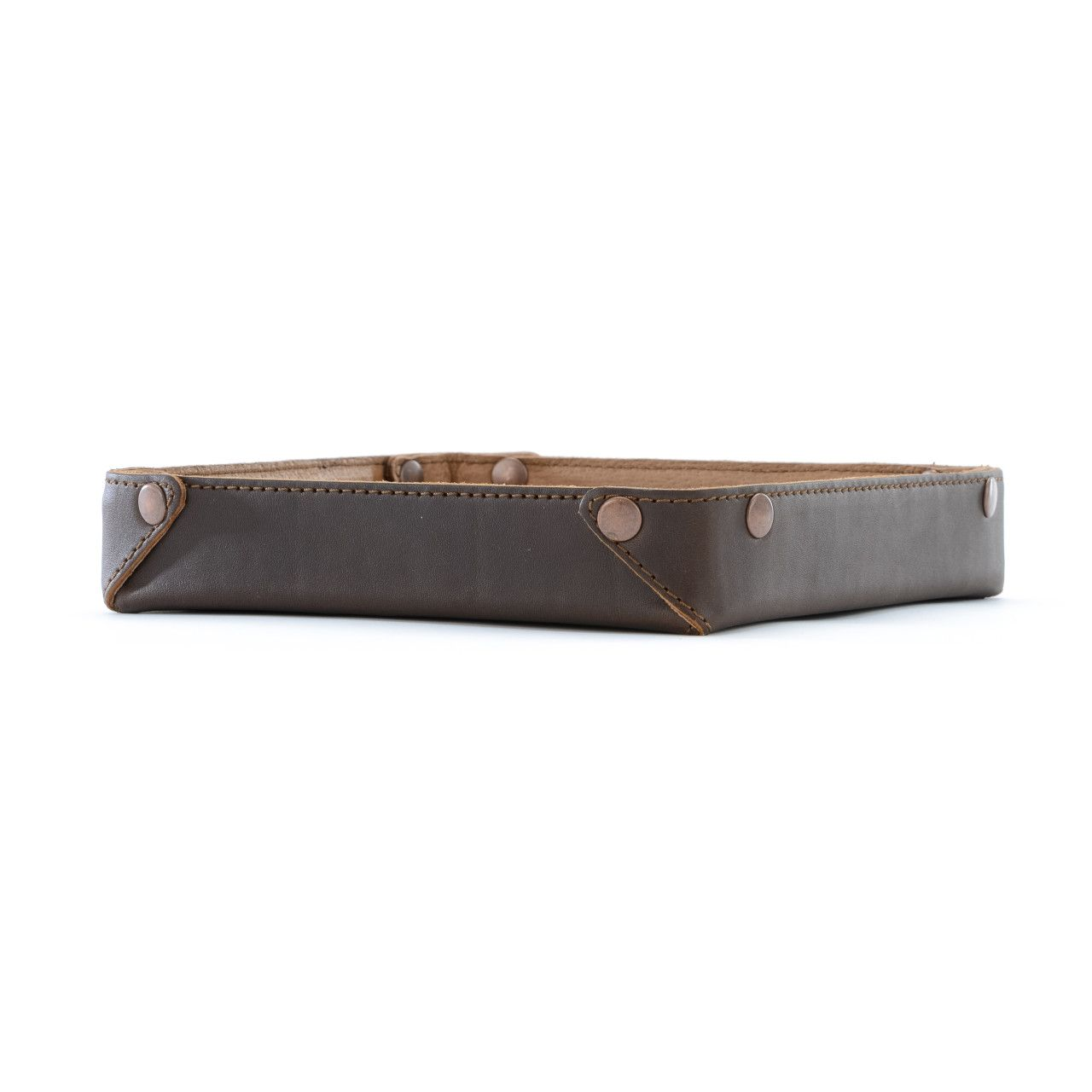 leather valet tray in dark coffee brown leather