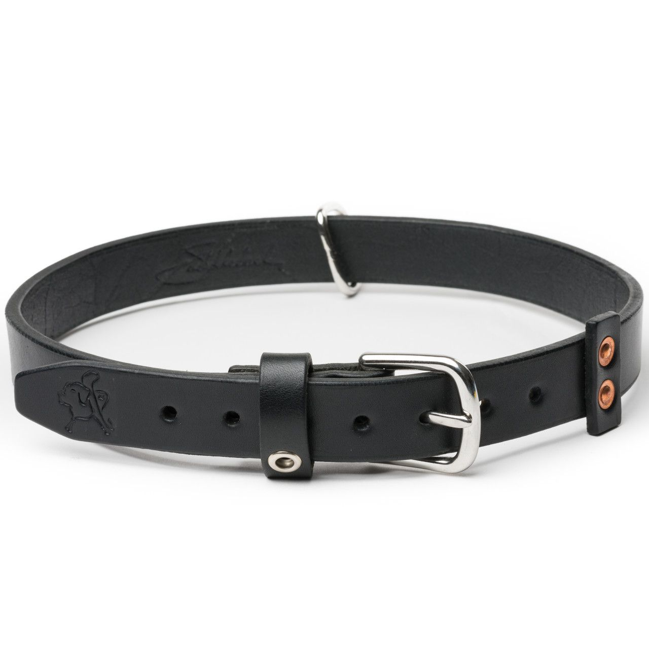 leather dog collar large in carbon black leather