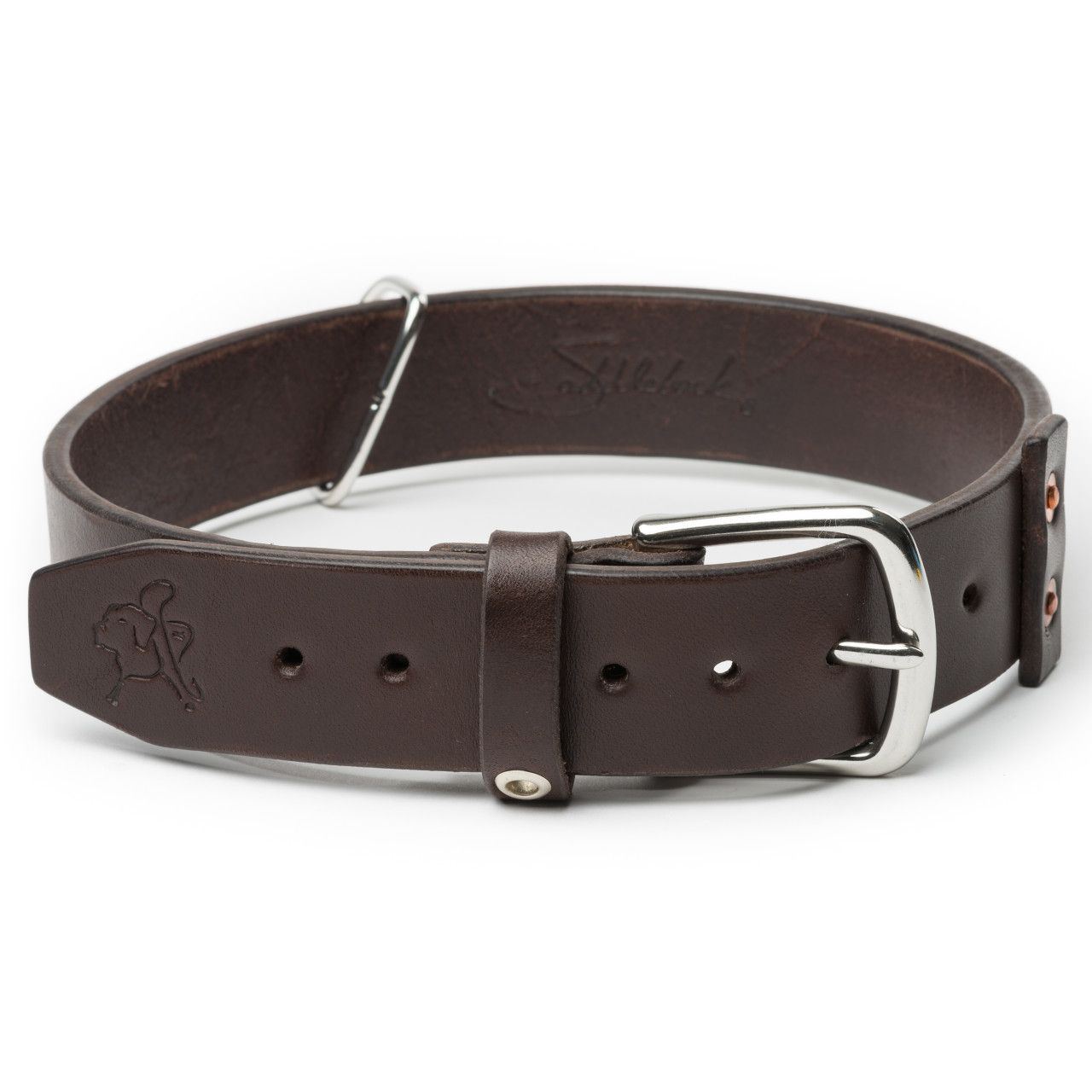 leather dog collar large in dark coffee brown leather