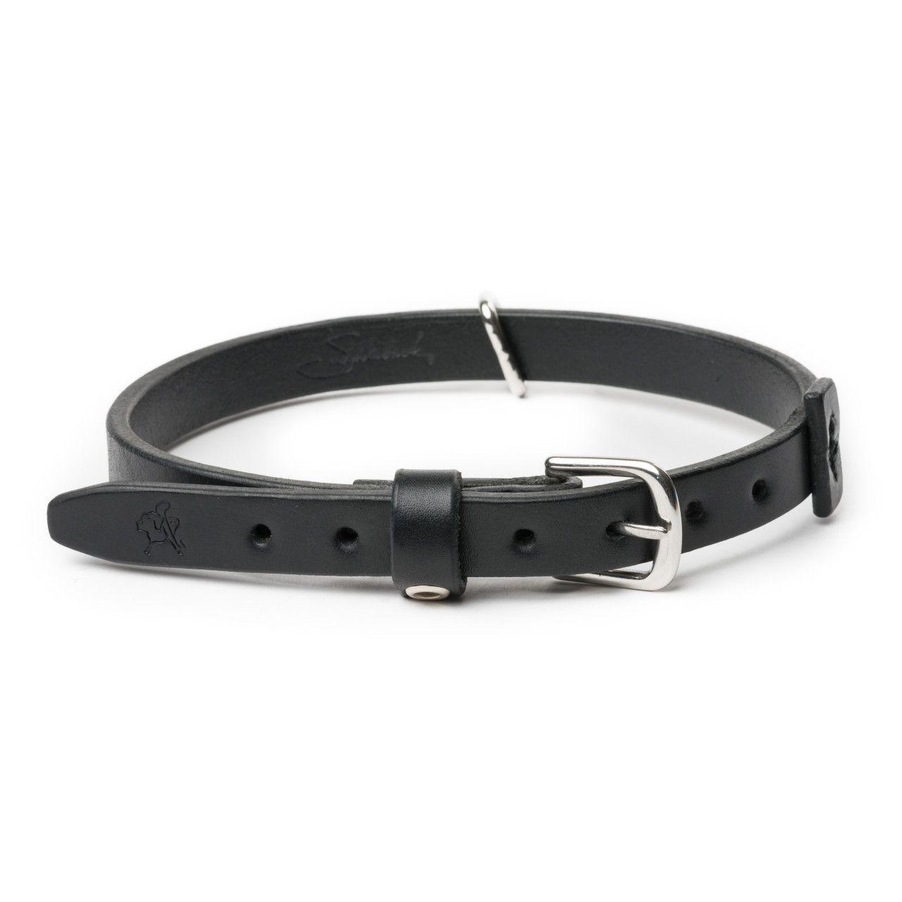 leather dog collar medium in carbon black leather