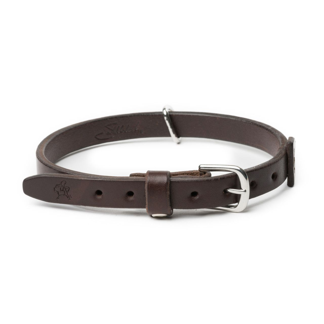leather dog collar medium in dark coffee brown leather
