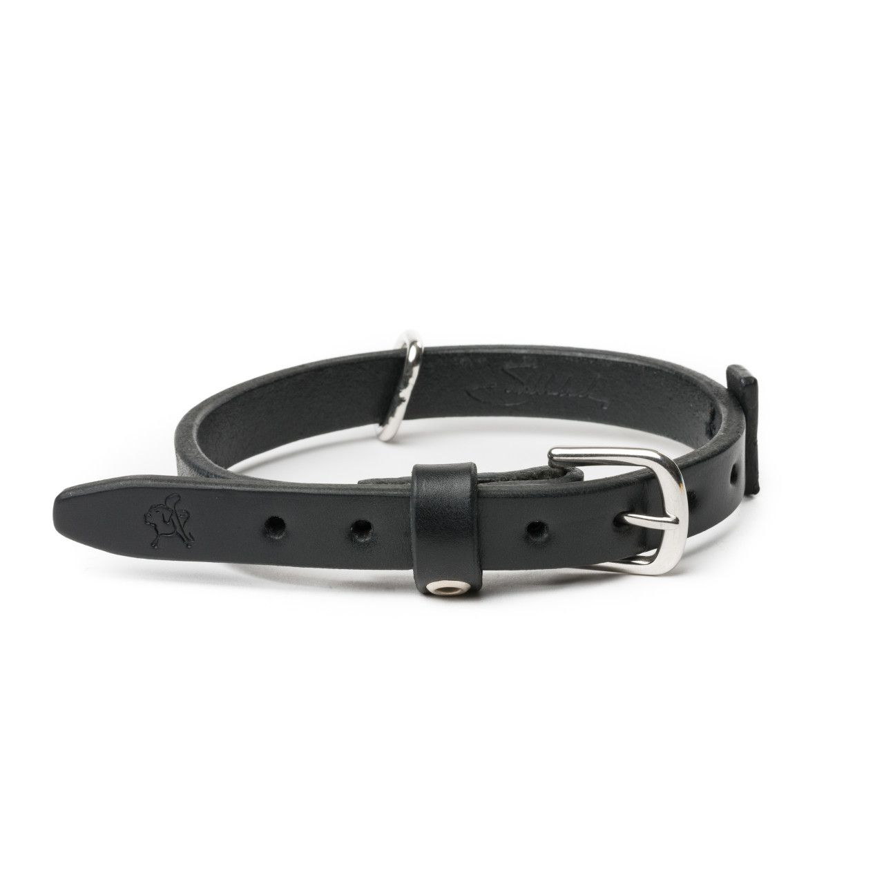 leather dog collar small in carbon black leather