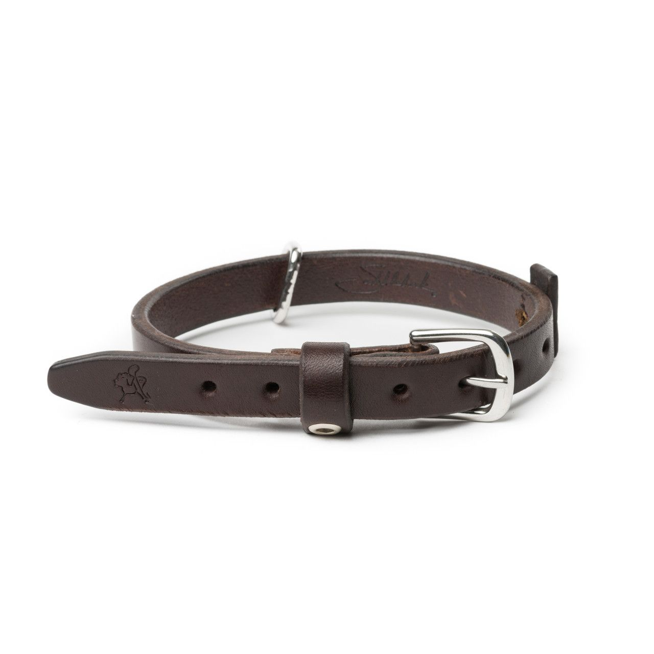 leather dog collar small in dark coffee brown leather