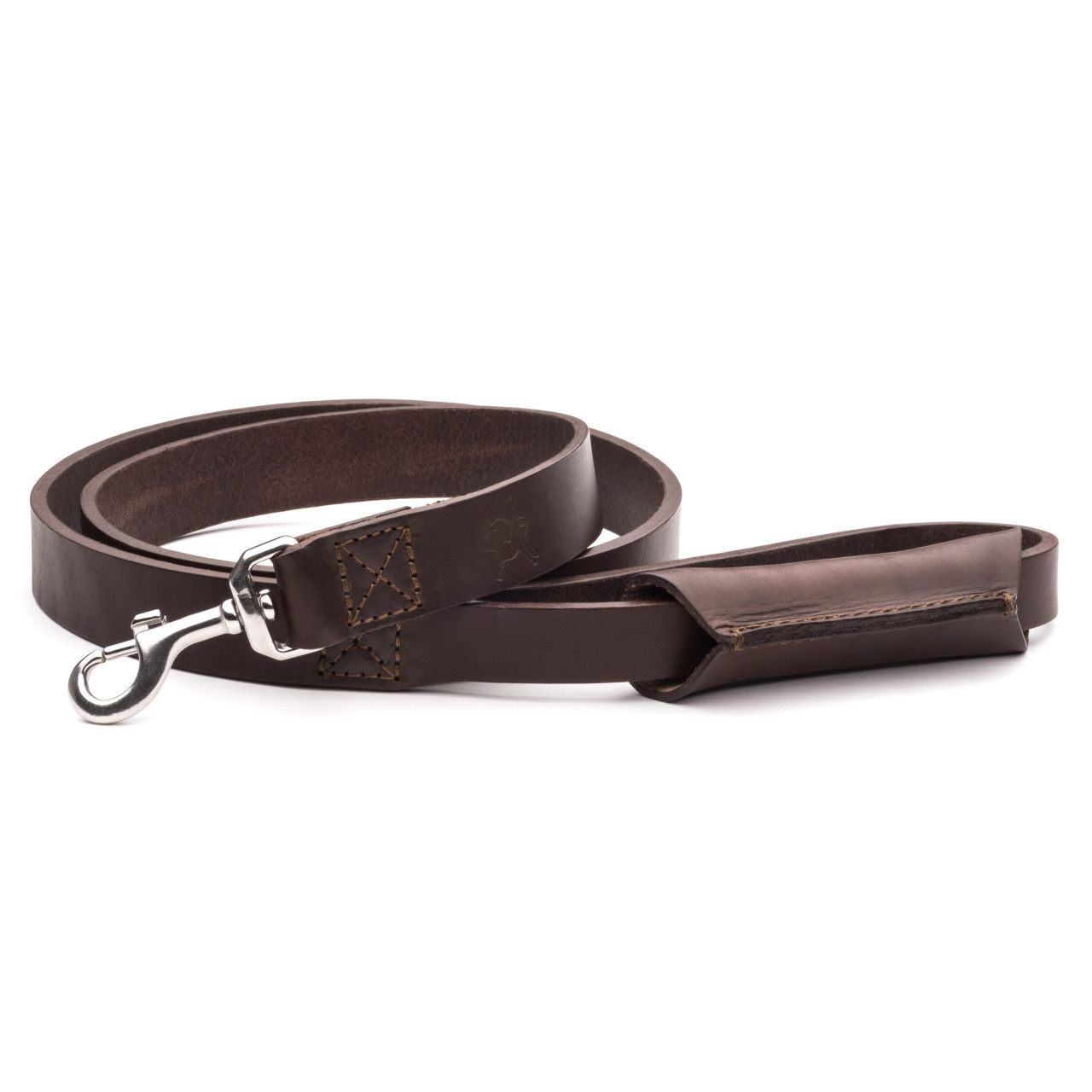 leather dog leash in dark coffee brown leather