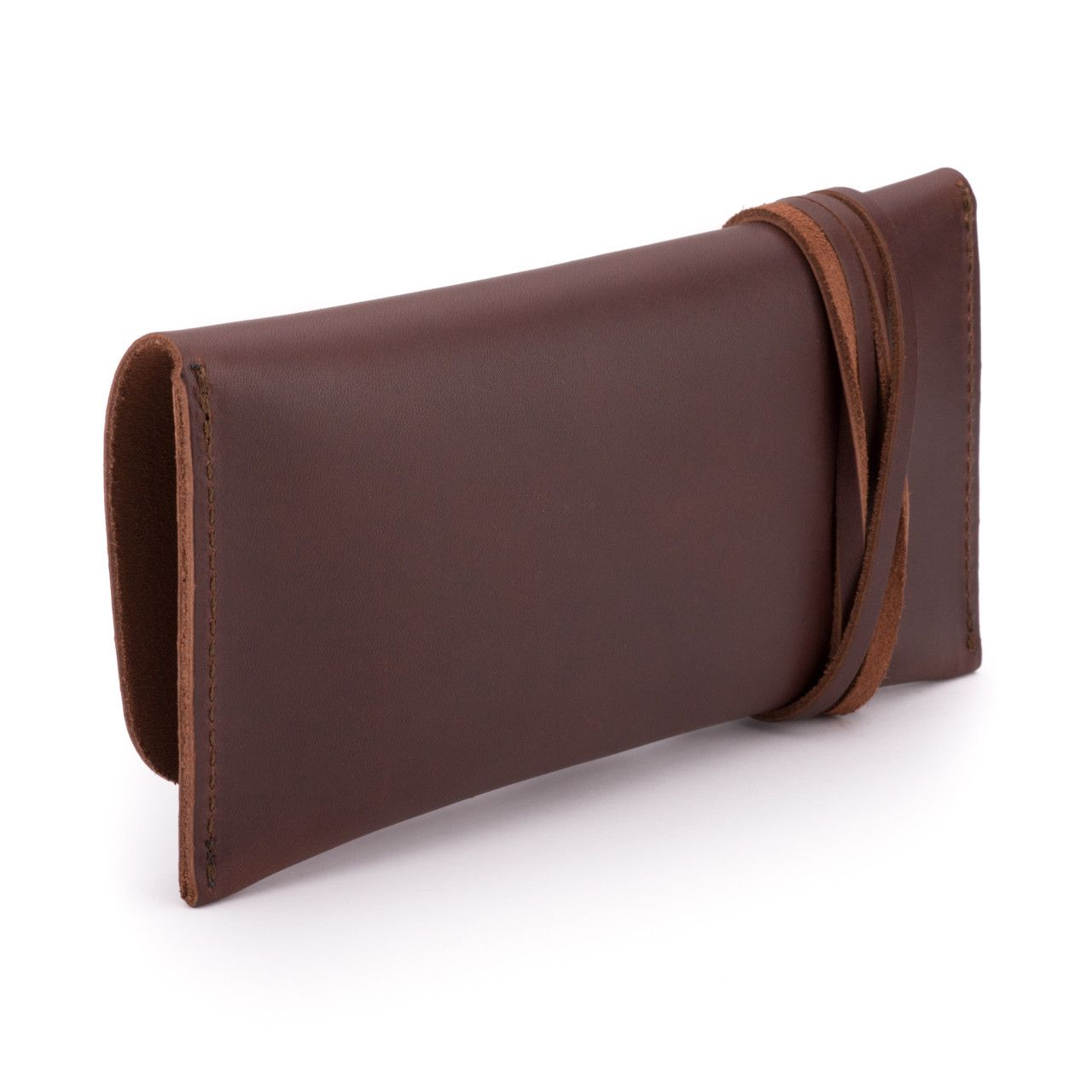 leather sunglass case in chestnut leather