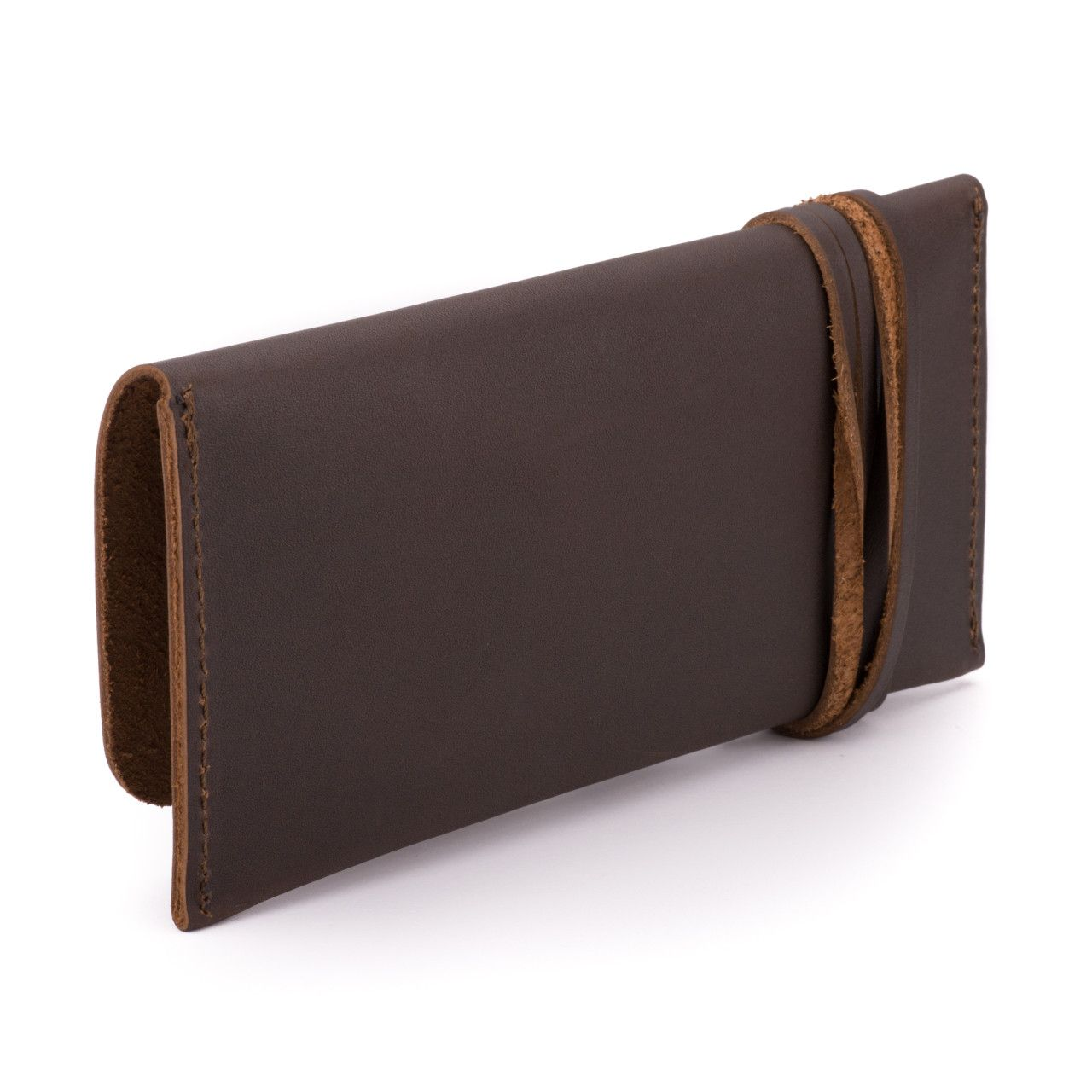 leather sunglass case in dark coffee brown leather