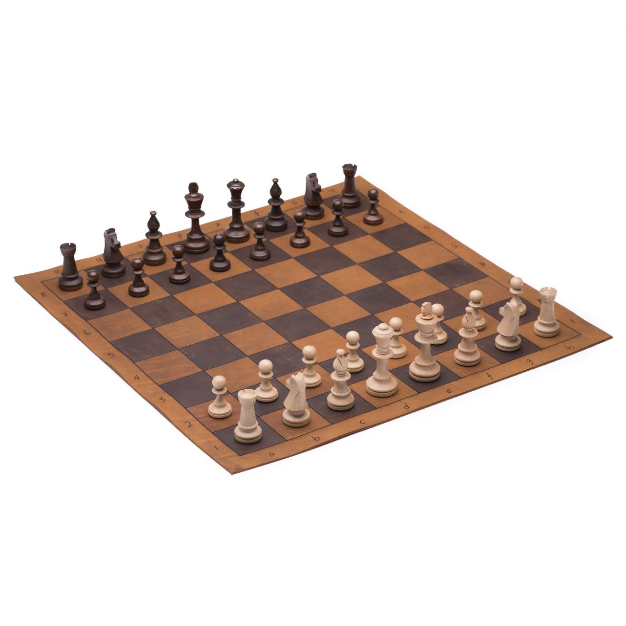 leather chess and checkers set large in tobacco leather