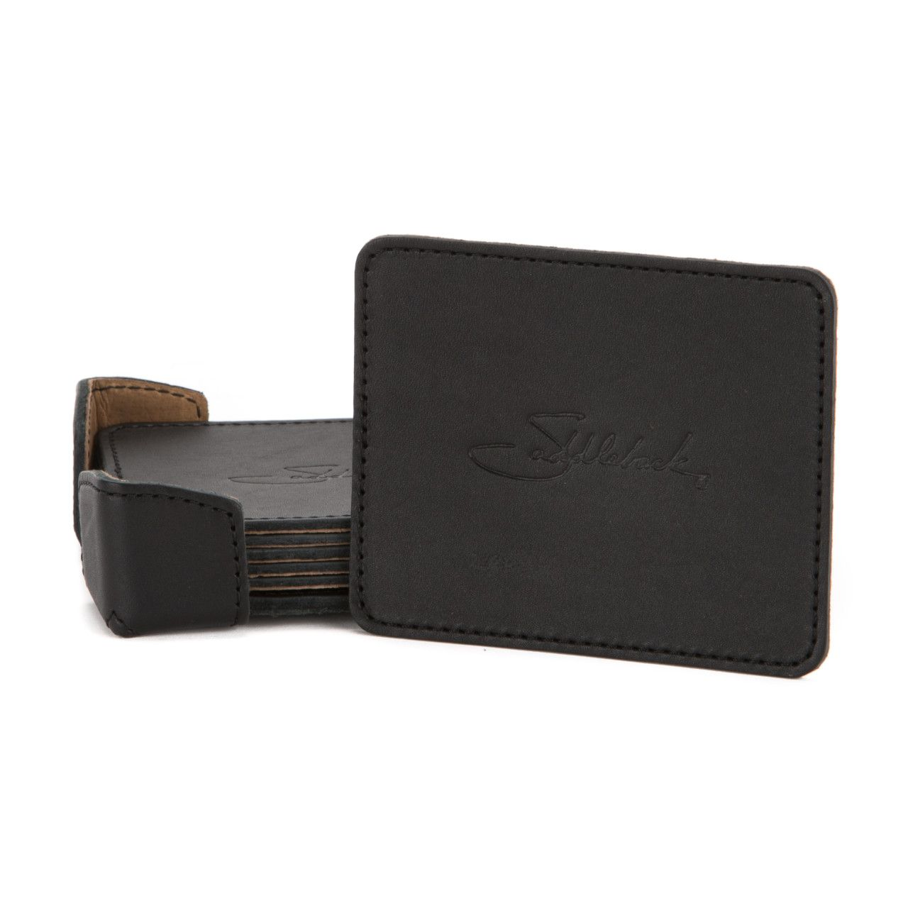 leather coaster set in black leather