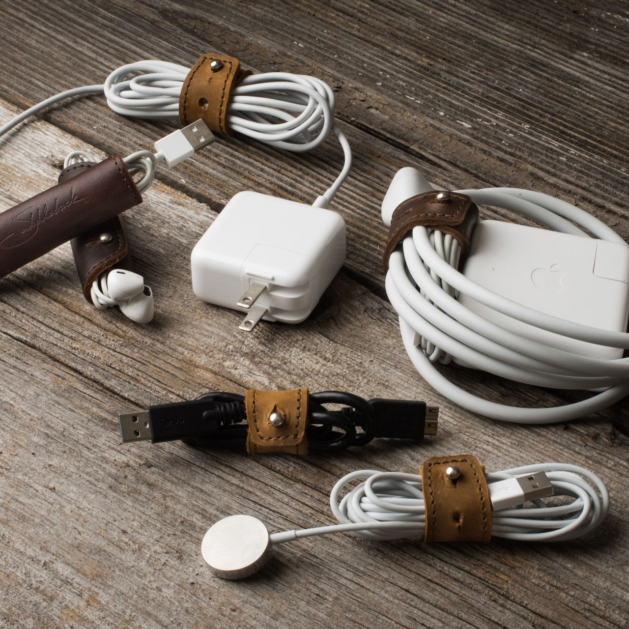 Everything to macbooka locked in leather cord wrap set in leather