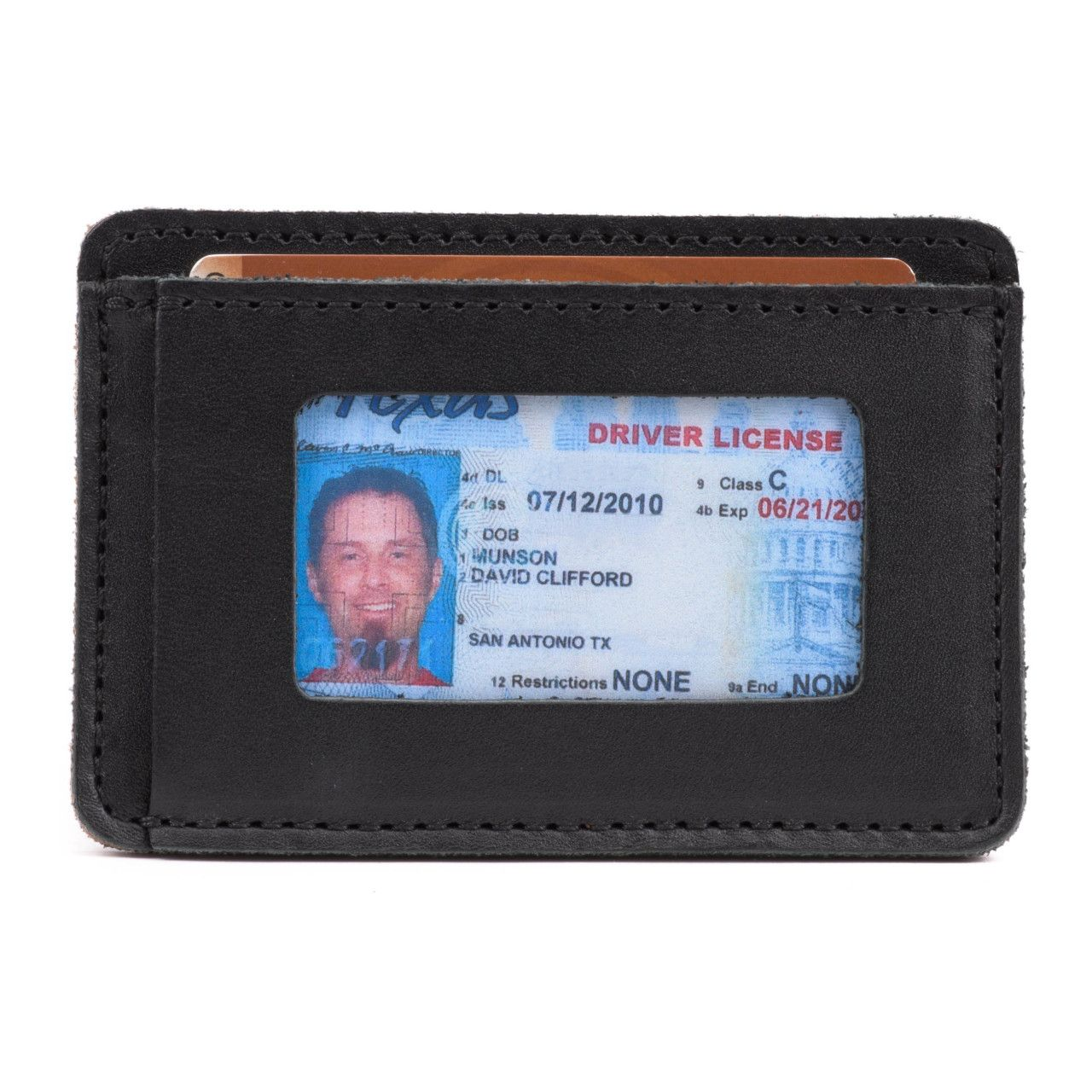 leather front pocket wallet in black leather with a visible driving license