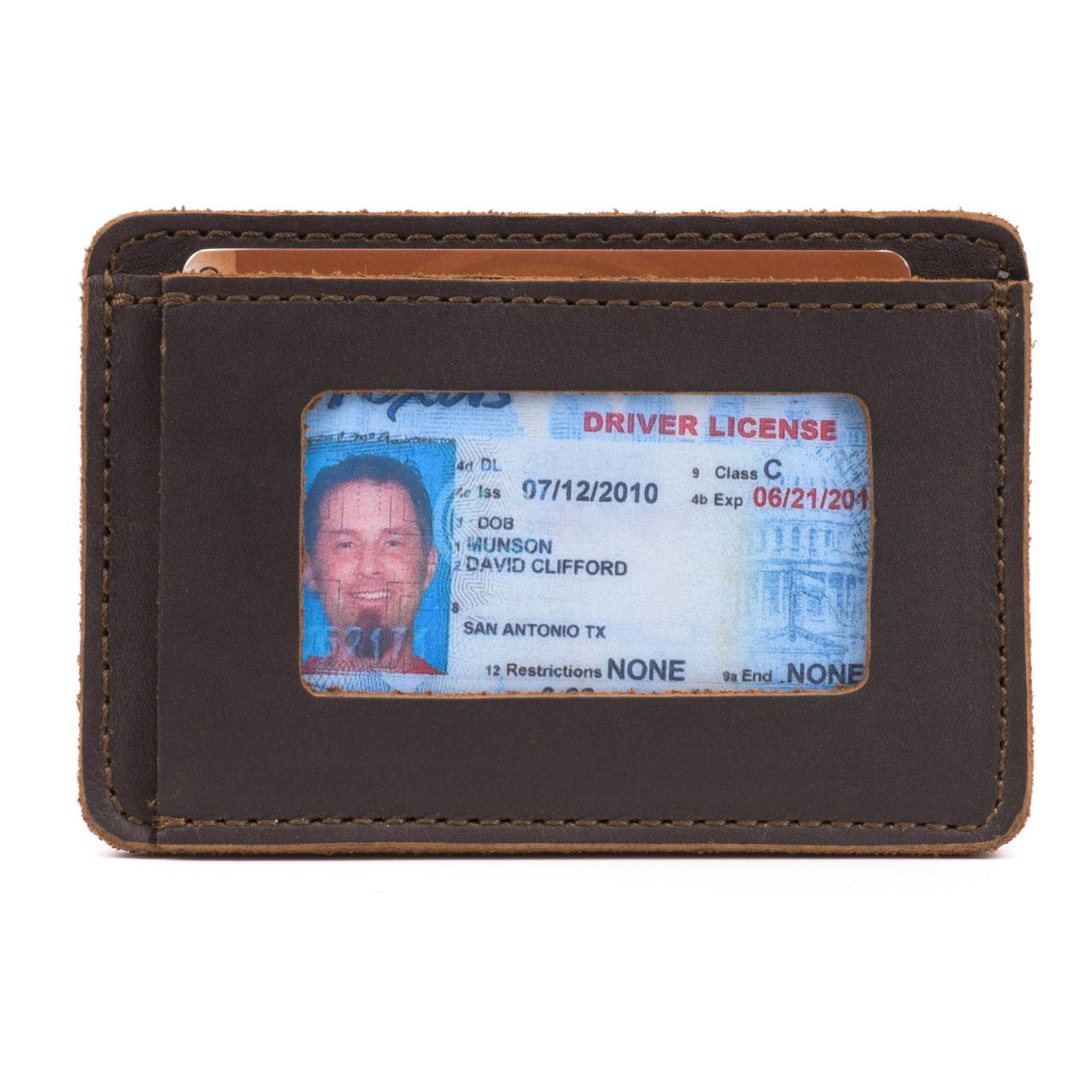 leather front pocket wallet in dark coffee brown leather with a visible driving license